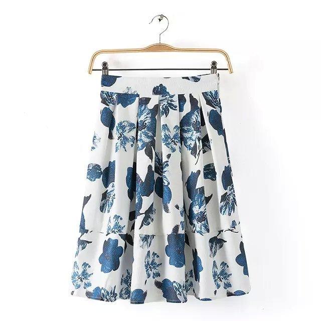 SB19 Fashion Summer Women Elegant pleated Floral print zipper Skirt casual brand designer skirts