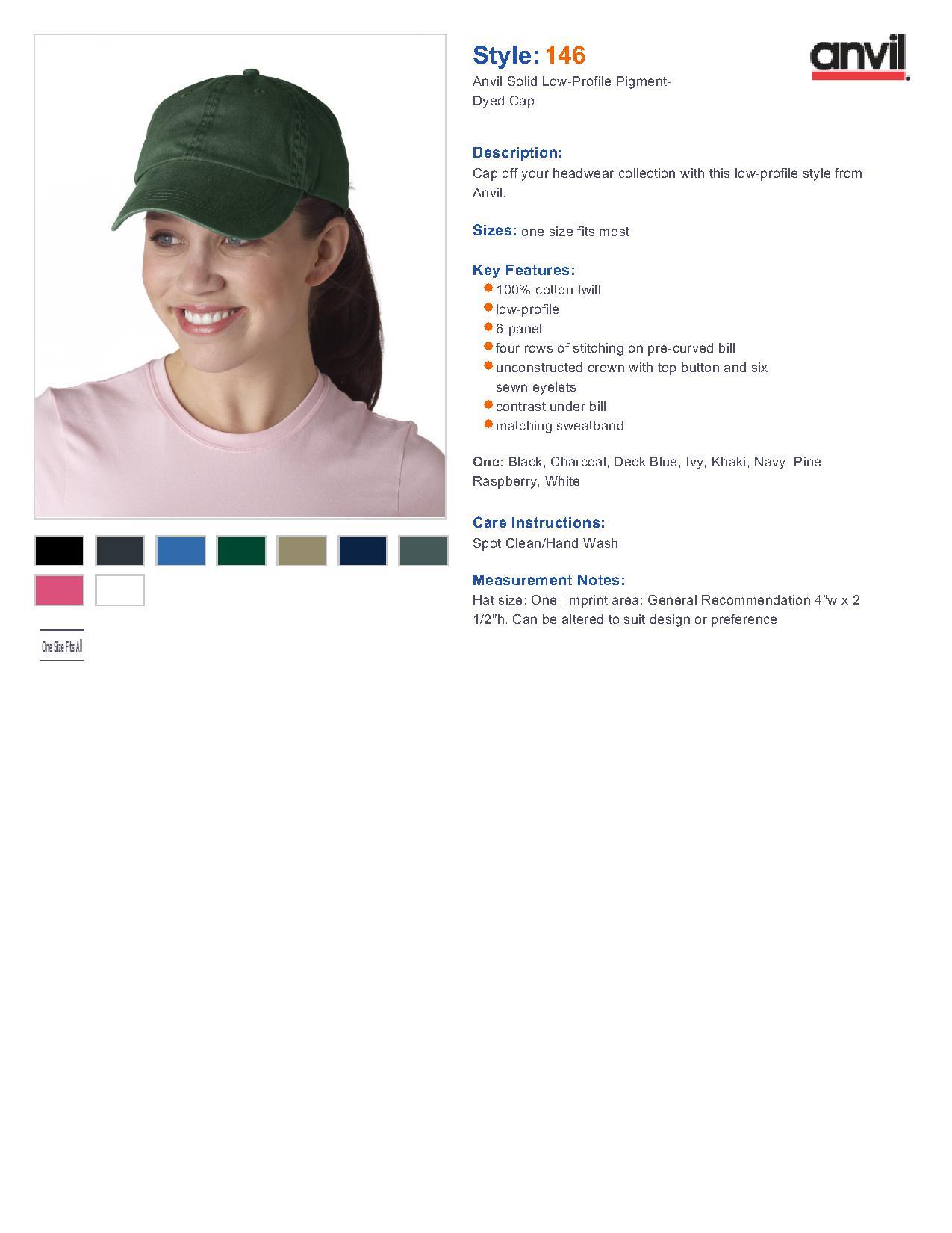 57c2fd61b783f Popular Designs. custom design of Anvil 146 Solid Pigment Dyed Cap