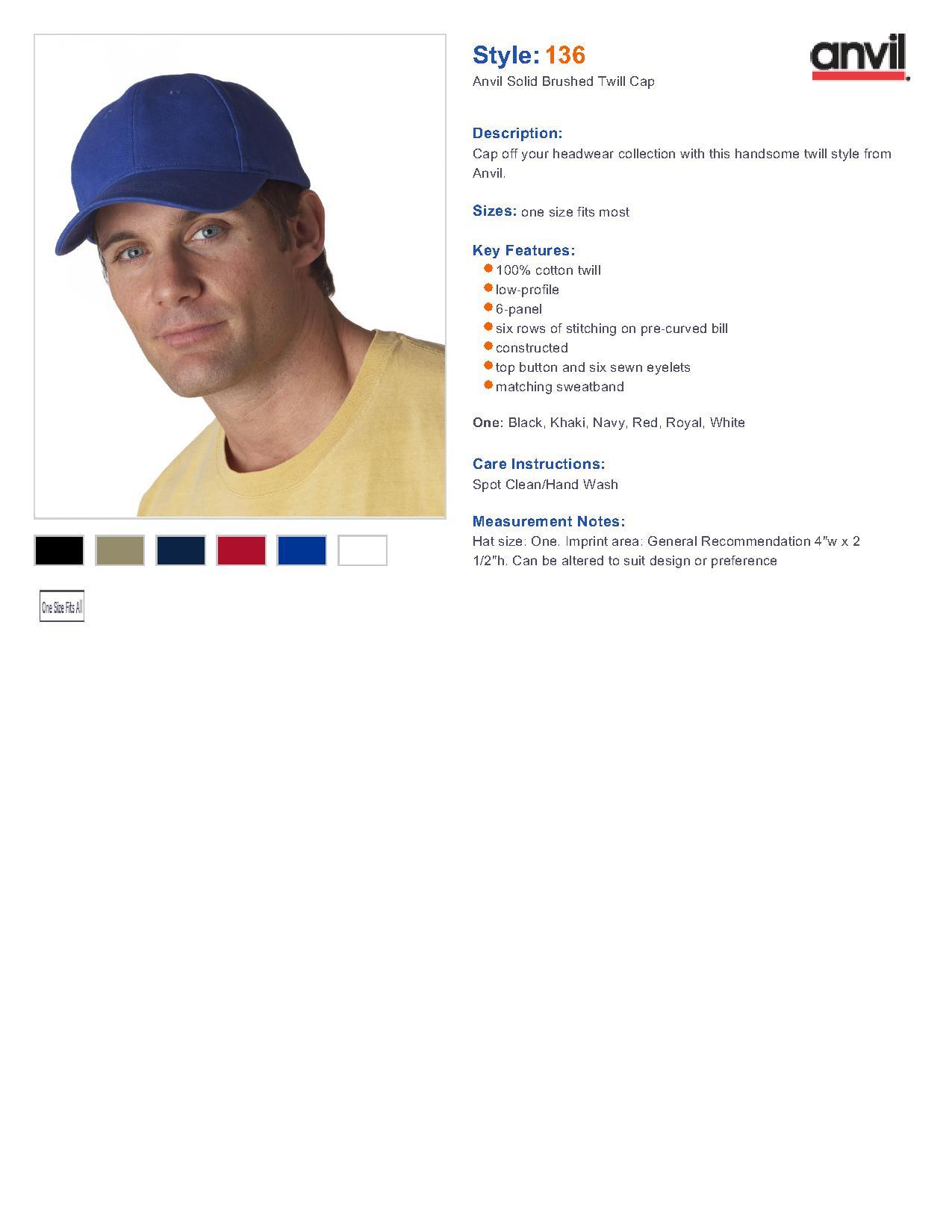 742c5f7d6c8 Anvil 136 6-Panel Brushed Twill Cap  3.50 - Headwear