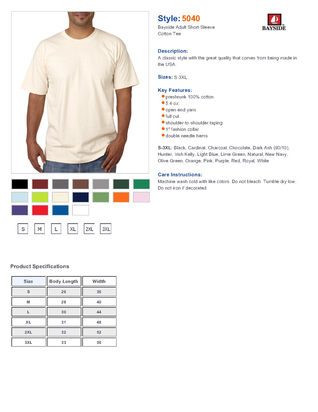 3838a220382 Bayside 5040 - Adult Short-Sleeve Tee  4.47 - Men s T-Shirts
