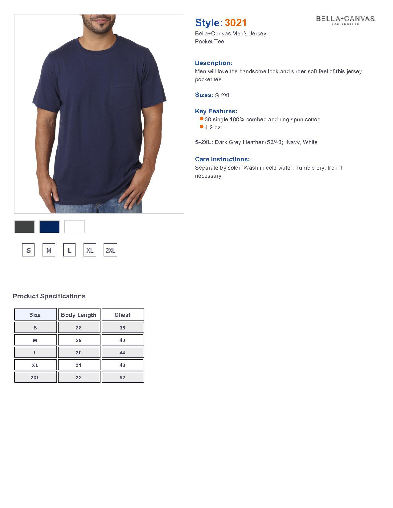 e969ef955425 Bella + Canvas 3021 Men's Jersey Short-Sleeve Pocket T-Shirt $6.69 ...