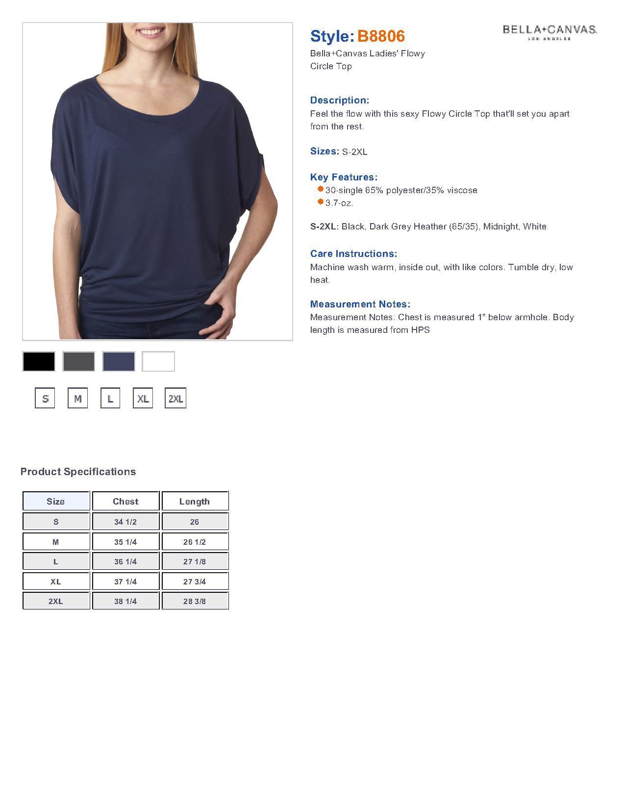 Bella B8806 Ladies Flowy Circle Top 9 45 Women S T Shirts