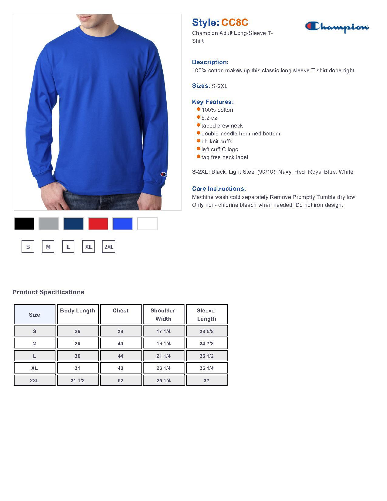 champion t shirt sizing chart