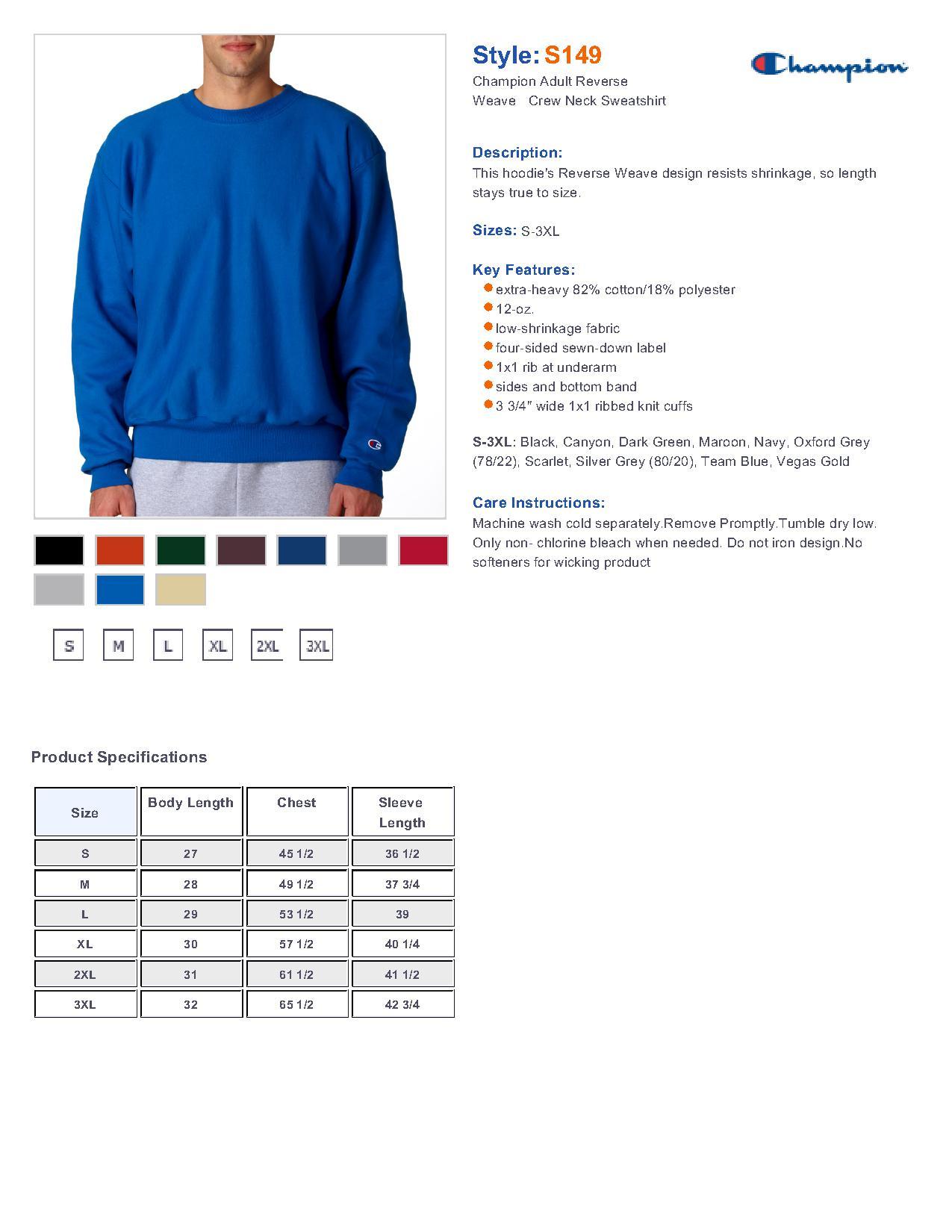 af5e8e08d3ef Champion S149 Reverse Weave Crewneck Sweatshirt  30.47 - Men s Fleece