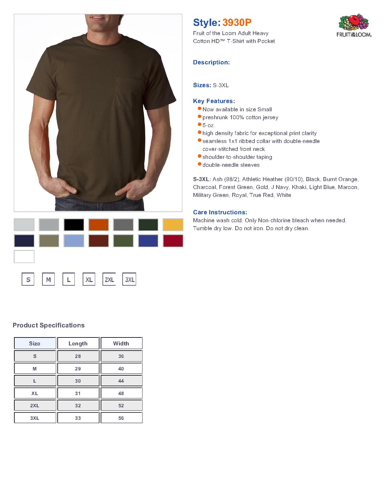 77b95fda Fruit of the Loom 3930P 5.6 oz. Pocket T-Shirt $5.42 - Men's T-Shirts
