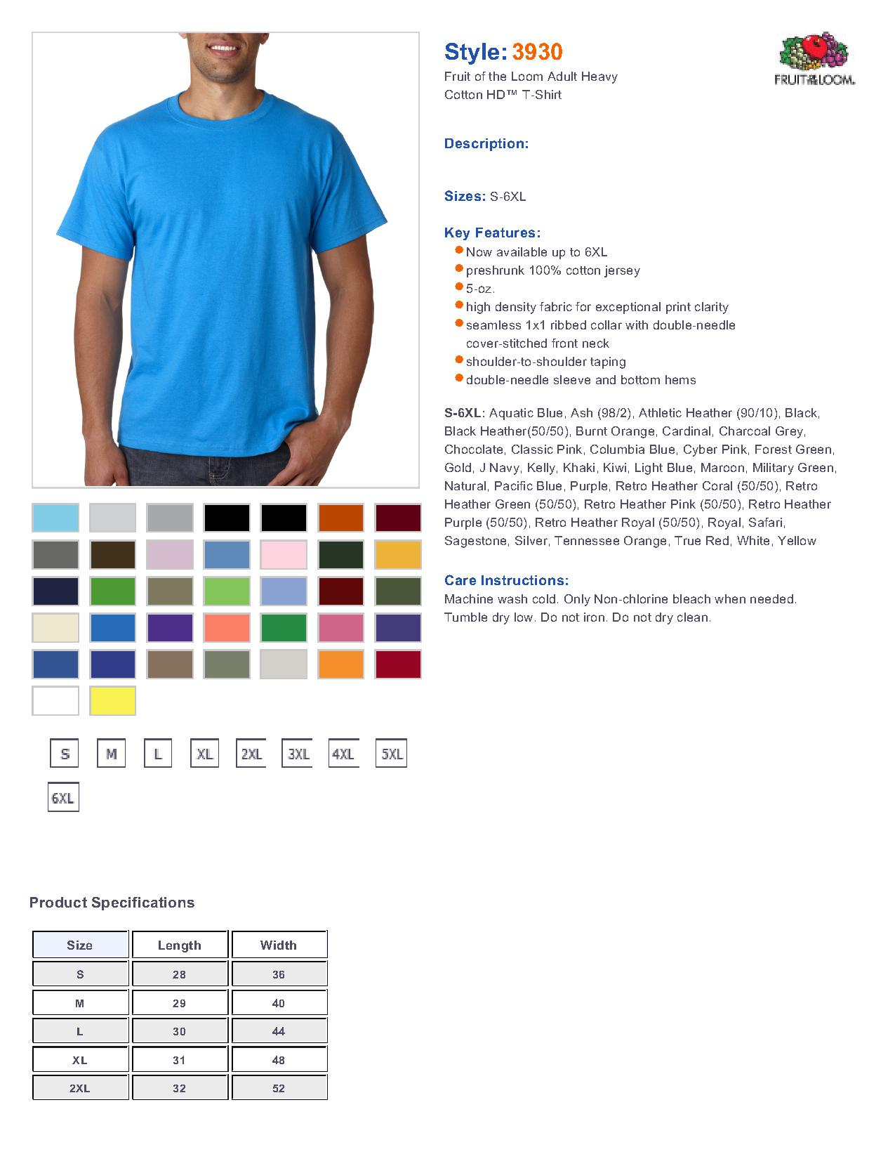 Fruit Of The Loom 3930 5 6 Oz T Shirt