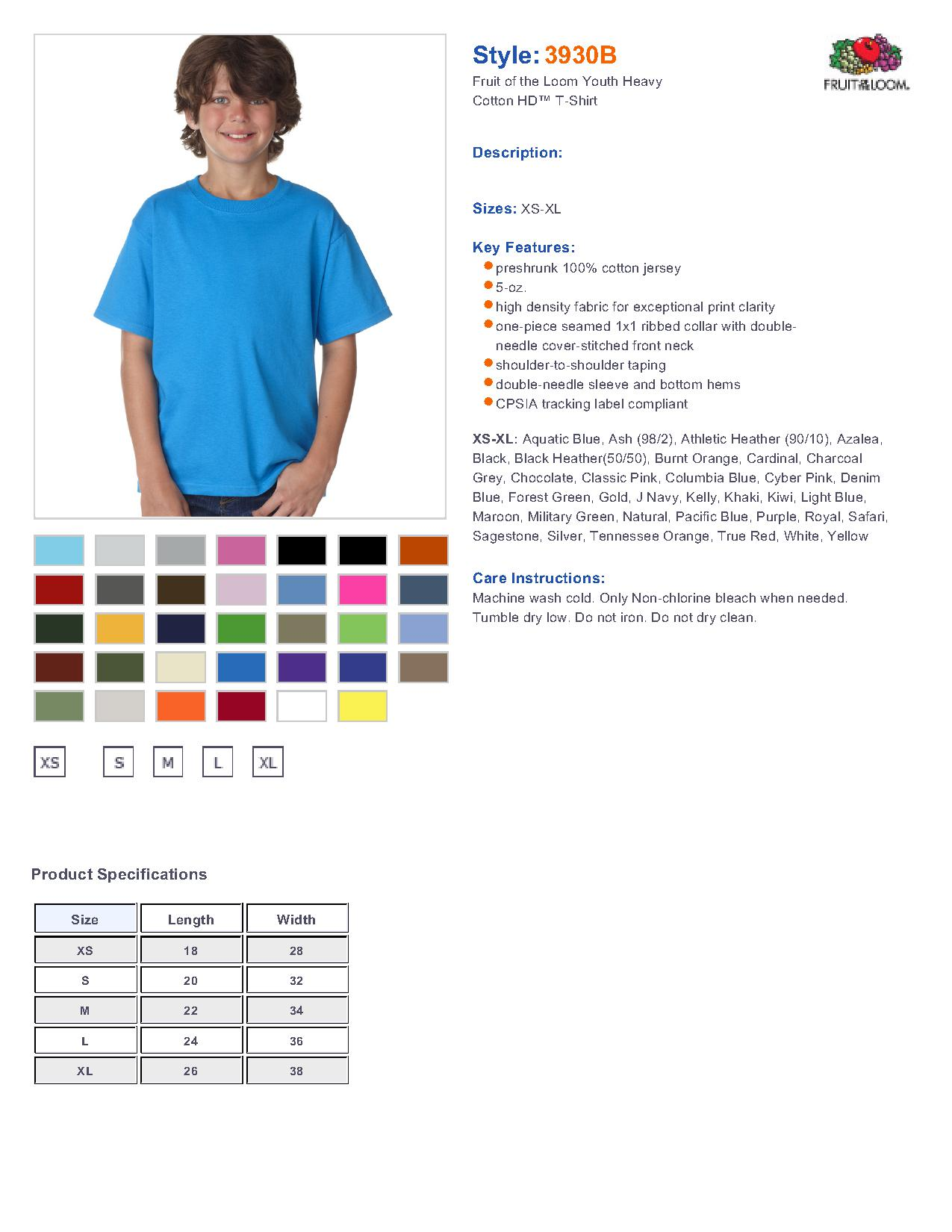 Fruit of the Loom 3930B Youth 5.6 oz. T-Shirt $2.62 - Youth's T-Shirts
