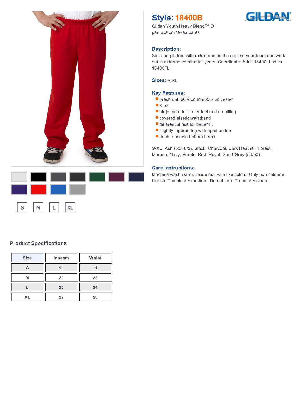 Gildan 18400b youth heavy blend open bottom sweatpants 1035 specs sizing specs nvjuhfo Gallery