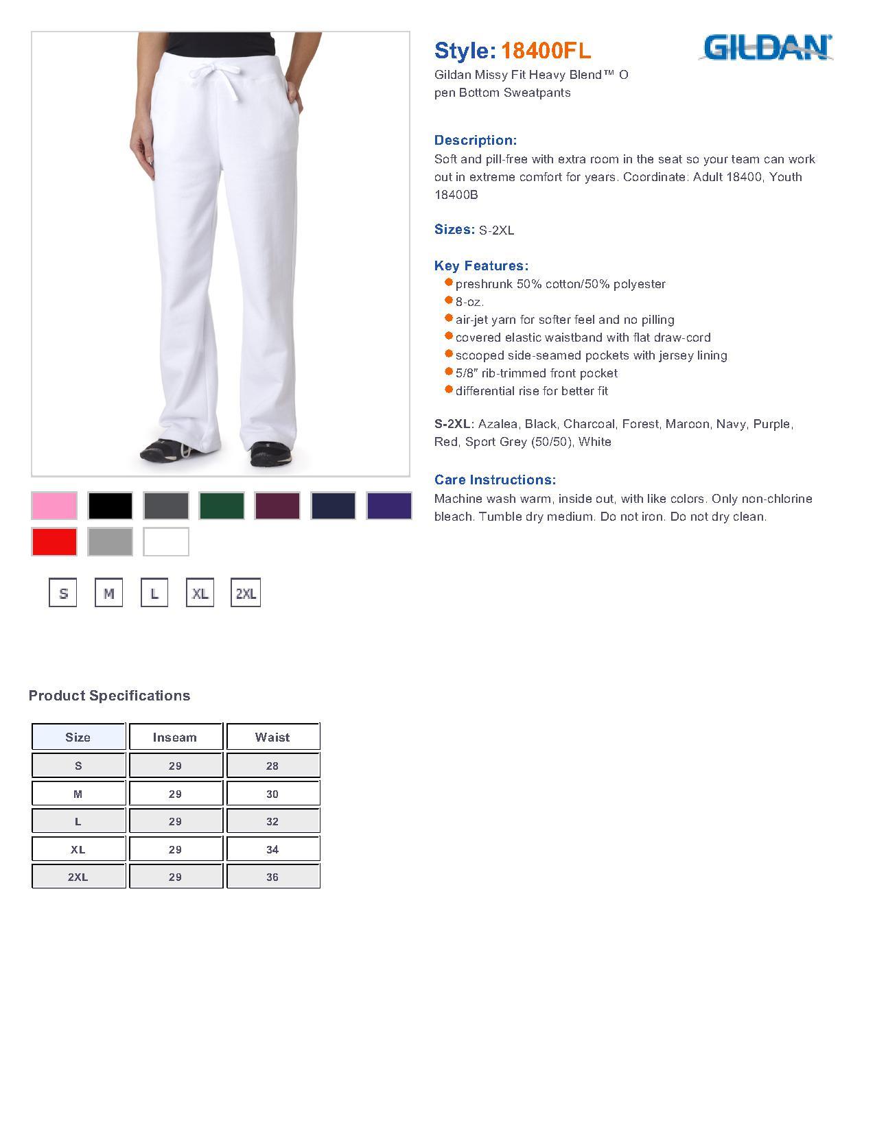 Gildan Sweatpants Sizing Chart Size Chart For Gildan G18400 Heavy