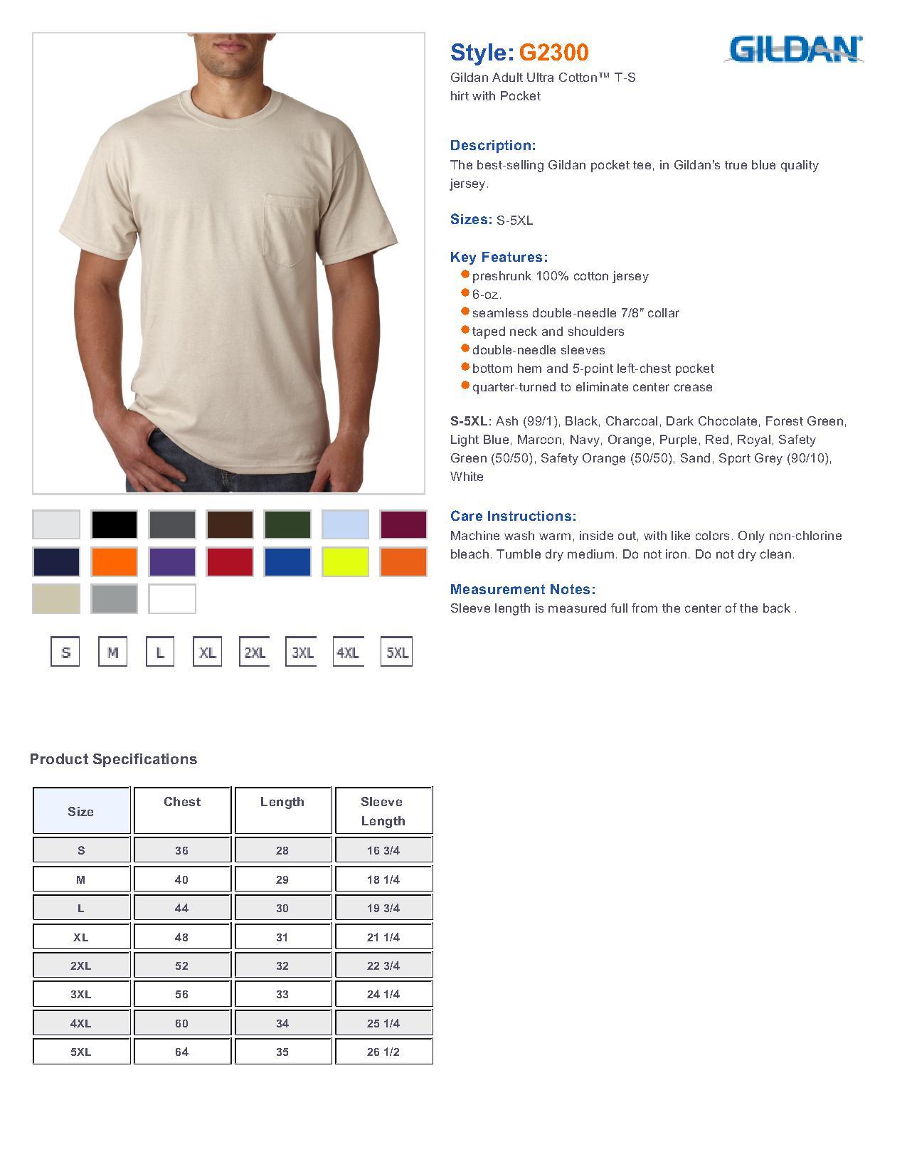 Gildan 2300 ultra cotton t shirt with a pocket 575 t shirts specs sizing specs nvjuhfo Images