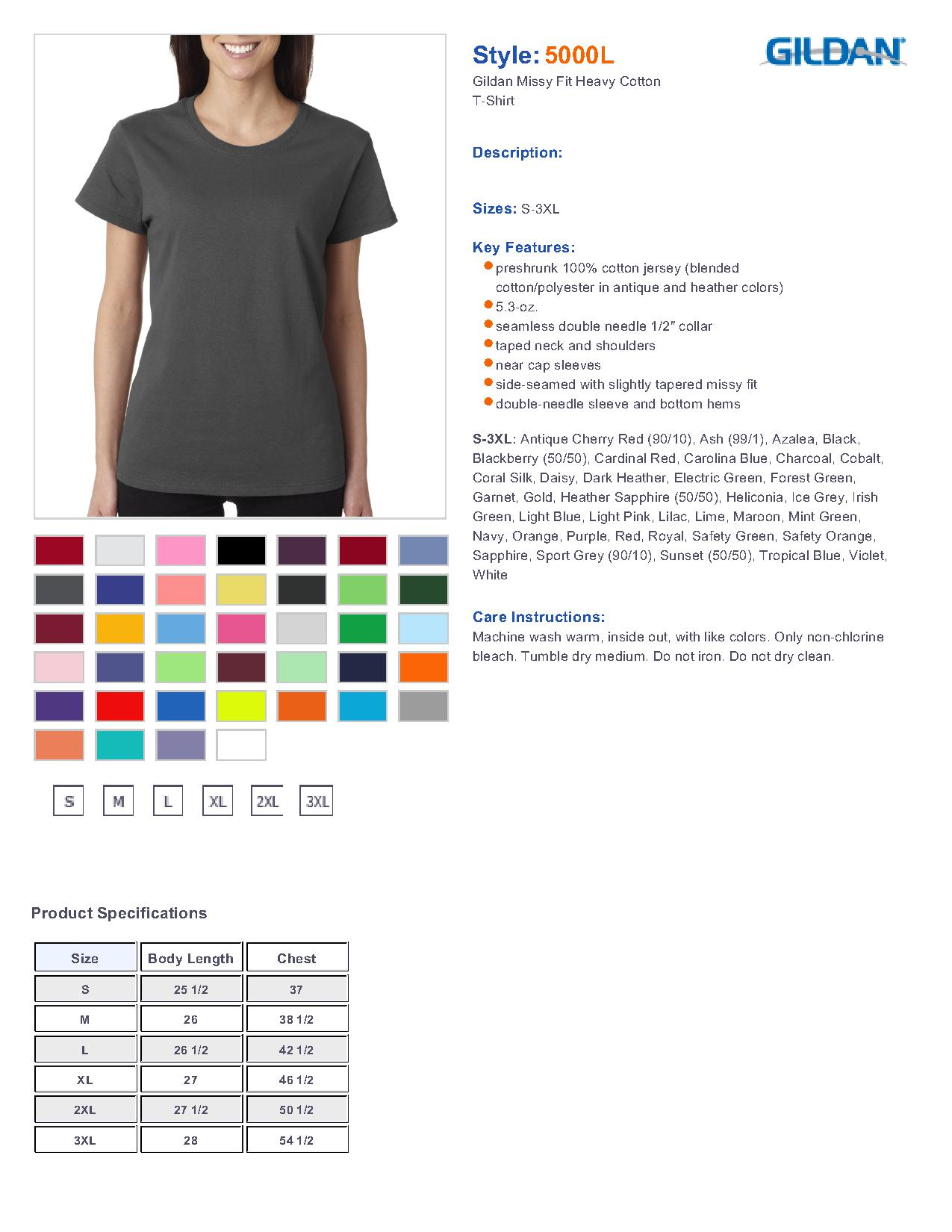 Gildan 5000l missy fit heavy cotton short sleeve t shirt 356 specs sizing specs nvjuhfo Image collections