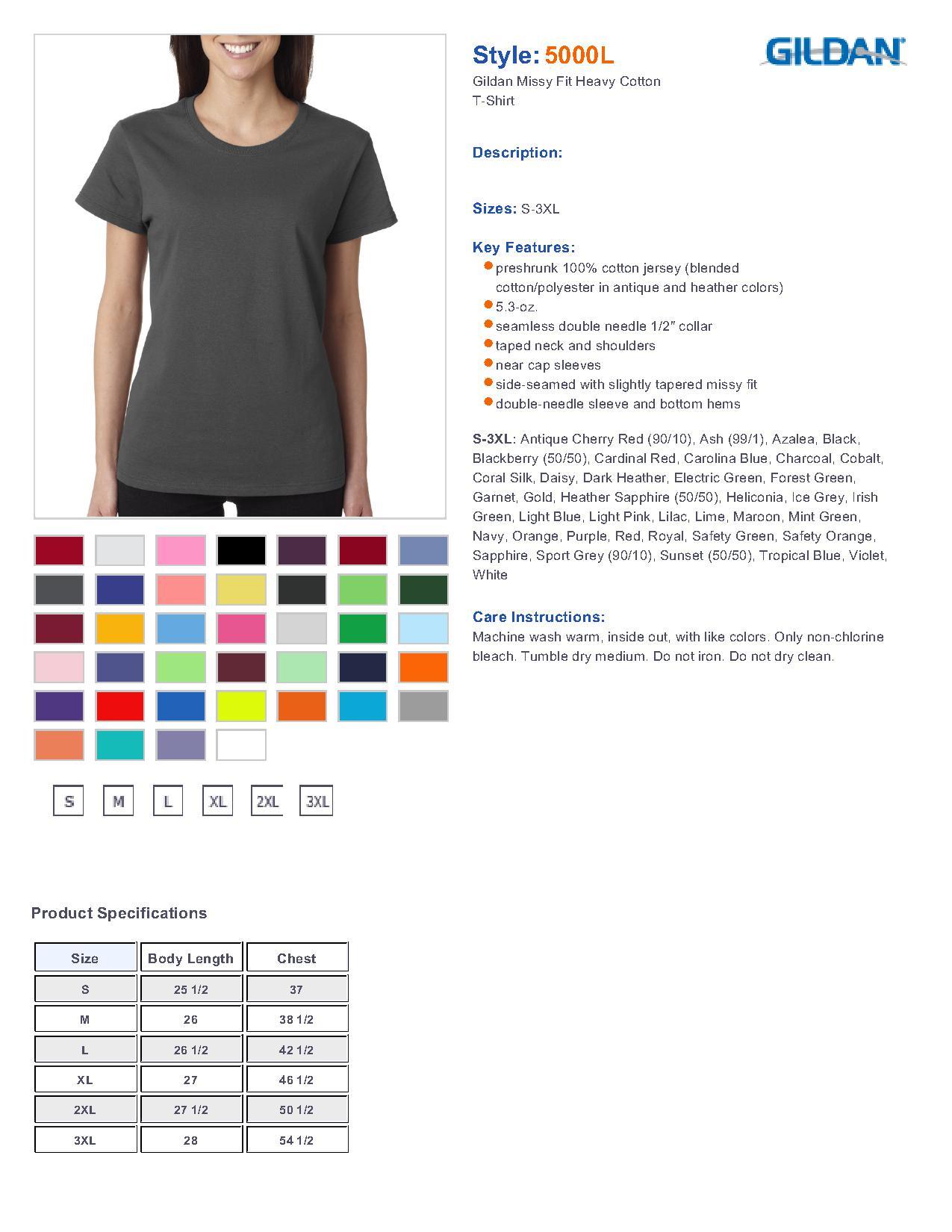 Gildan Shirt Size Chart Gallery Of
