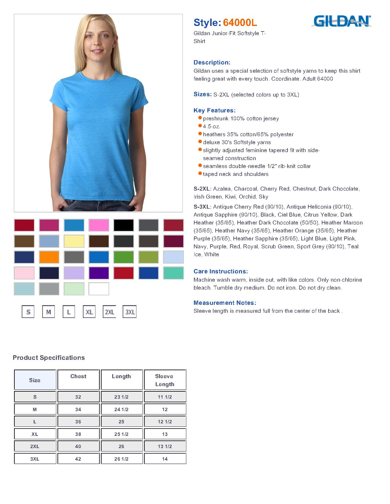 Gildan 64000l ladies softstyle t shirt 242 t shirts specs sizing specs nvjuhfo Image collections