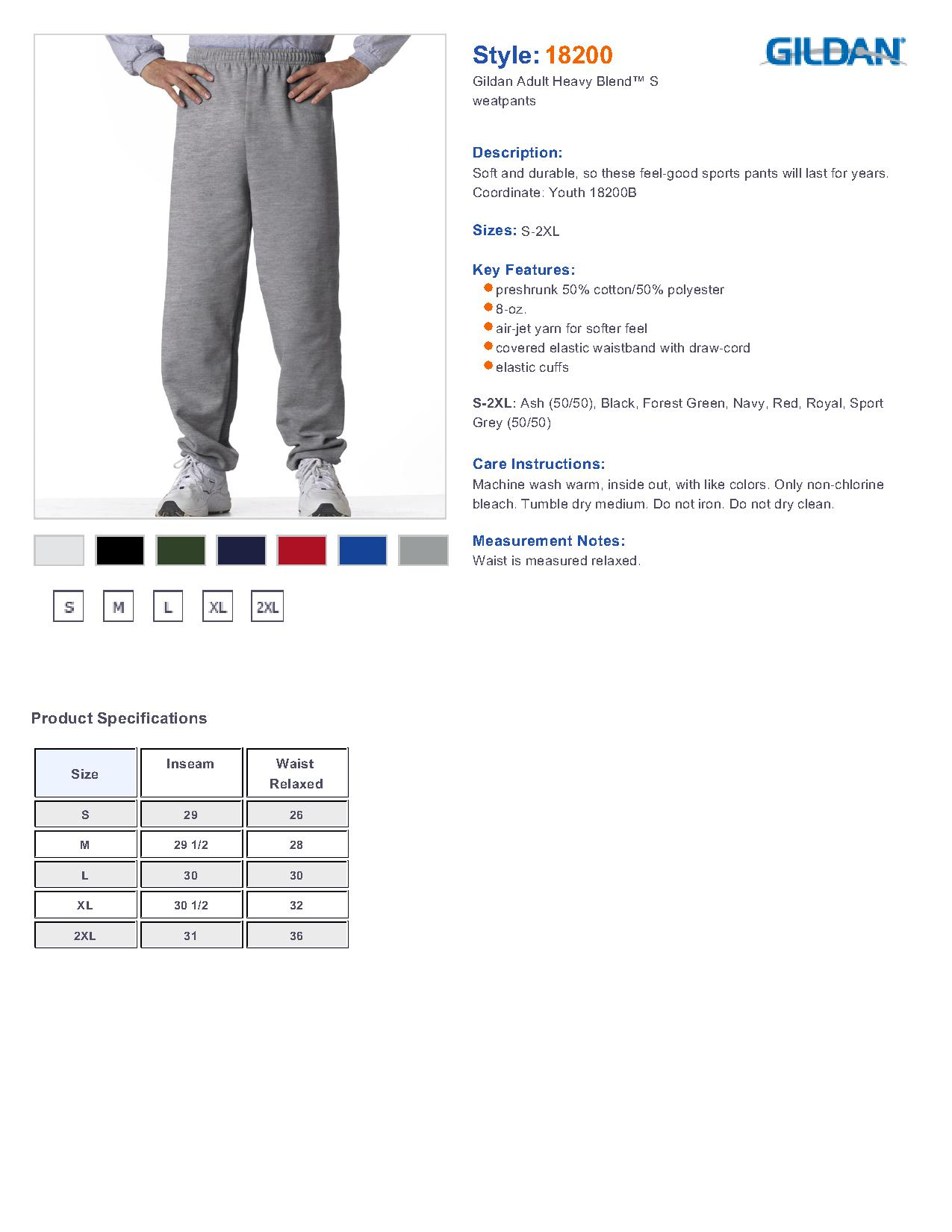 Gildan 18200 heavy blend sweatpants men 39 s pants for Gildan brand t shirt size chart