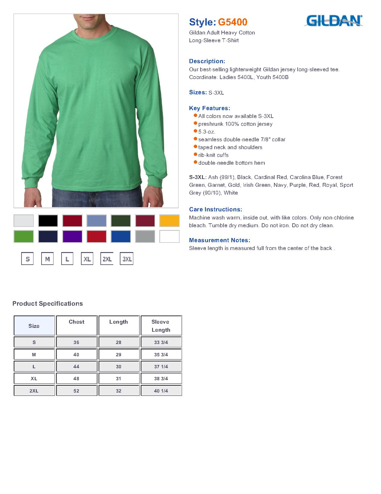 38254ee1b84e Gildan 5400 Heavy Cotton 5.3 oz. Long-Sleeve T-Shirt $6.14 - Men's T ...