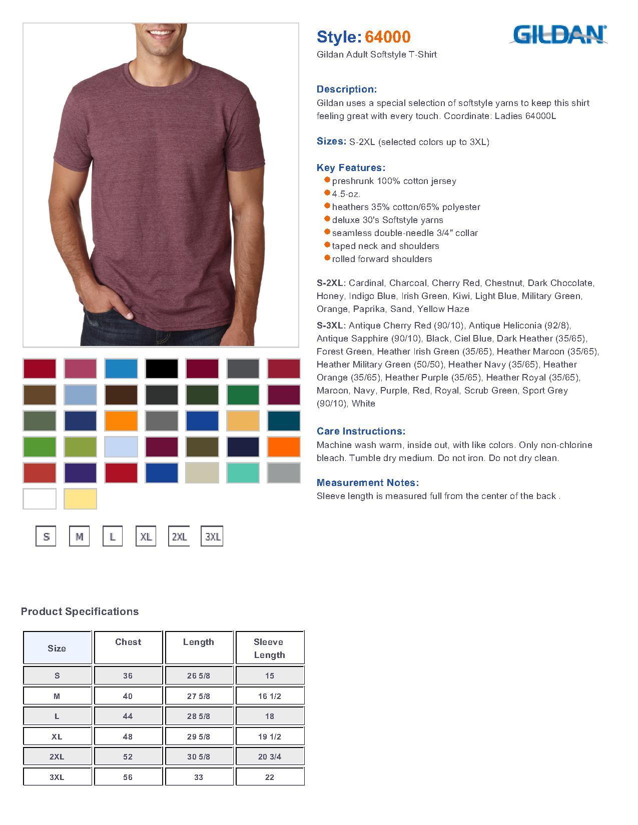 Gildan 64000 men 39 s softstyle t shirt men 39 s t shirts for Gildan t shirt size chart