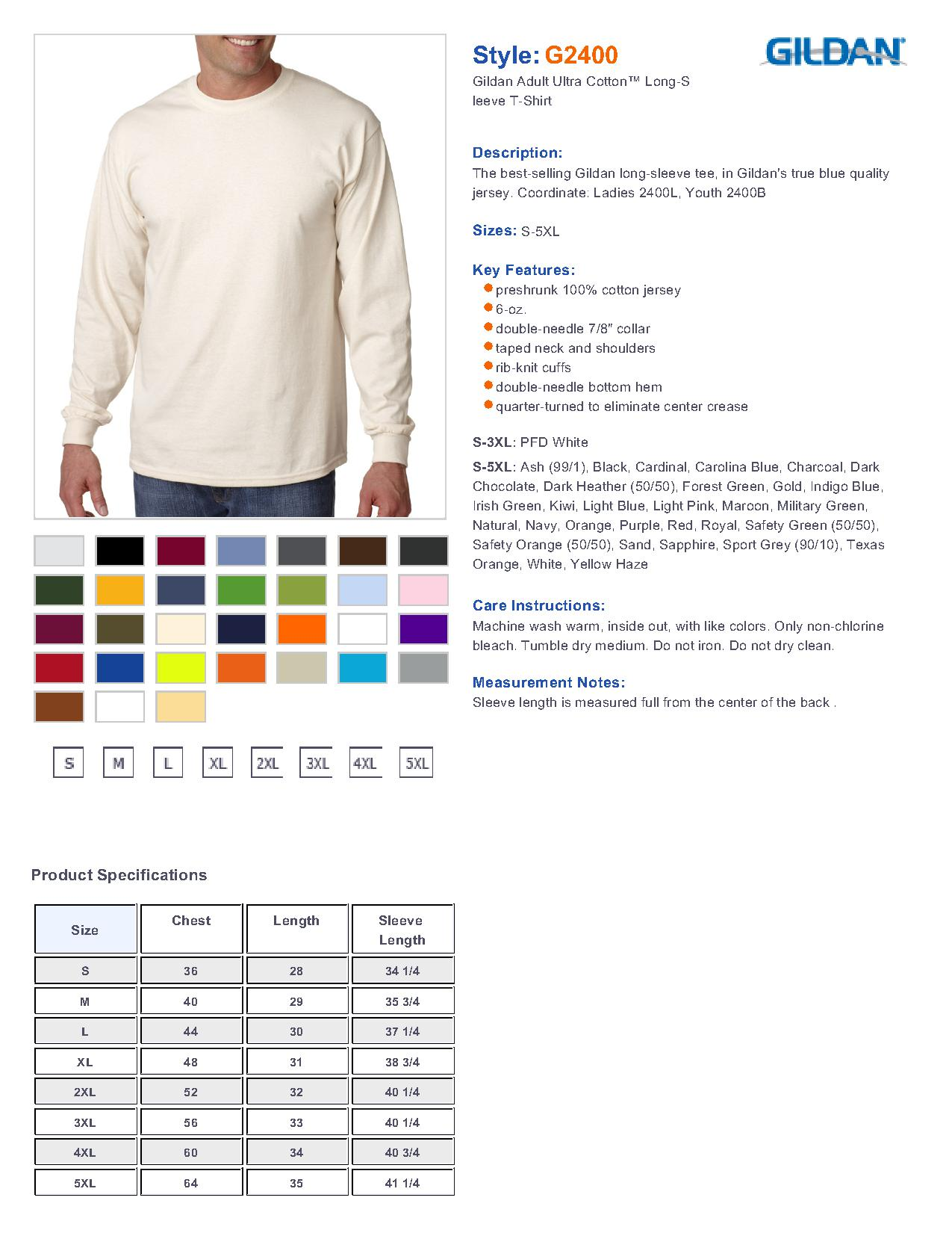 Gildan Ultra Cotton Long Sleeve T Shirt Size Chart