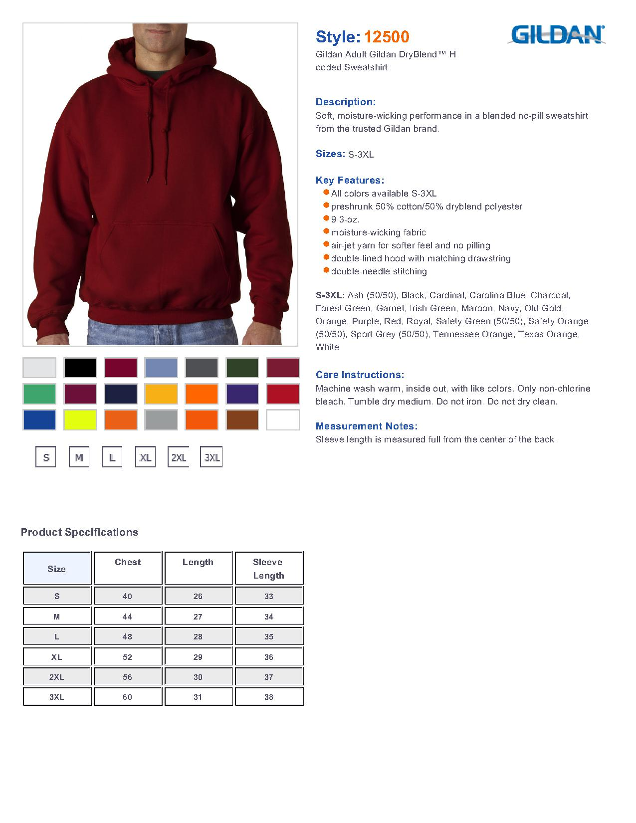 Gildan 12500 ultra blend hoded sweatshirt 1838 mens fleece specs sizing specs geenschuldenfo Image collections