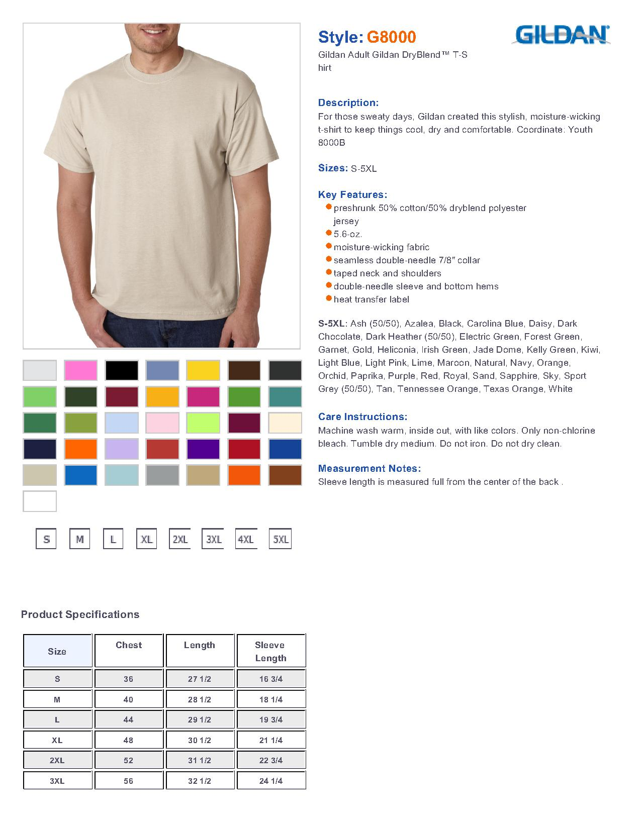 Gildan 8000 ultra blend 5050 t shirt 310 mens t shirts specs sizing specs nvjuhfo Image collections
