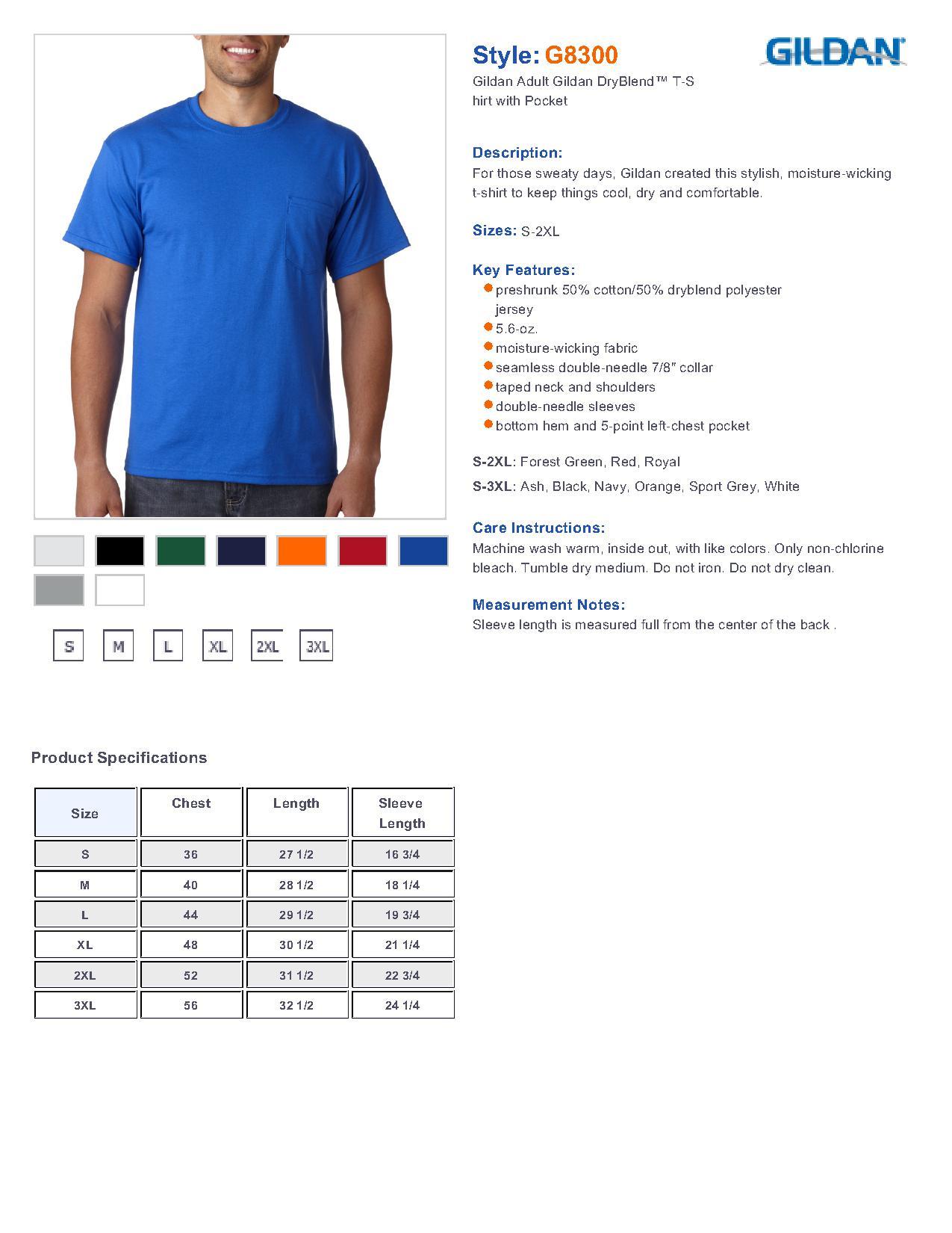 Gildan 8300 ultra blend 5050 t shirt with a pocket 543 mens t specs sizing specs nvjuhfo Images