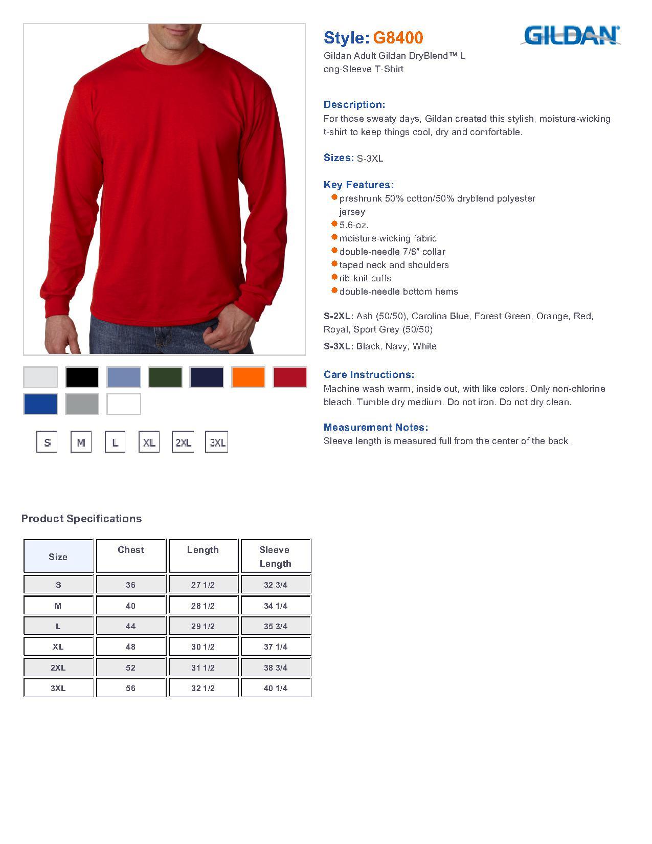 Gildan 8400 Dryblend 50 50 Long Sleeve T Shirt 4 90 Men S T Shirts