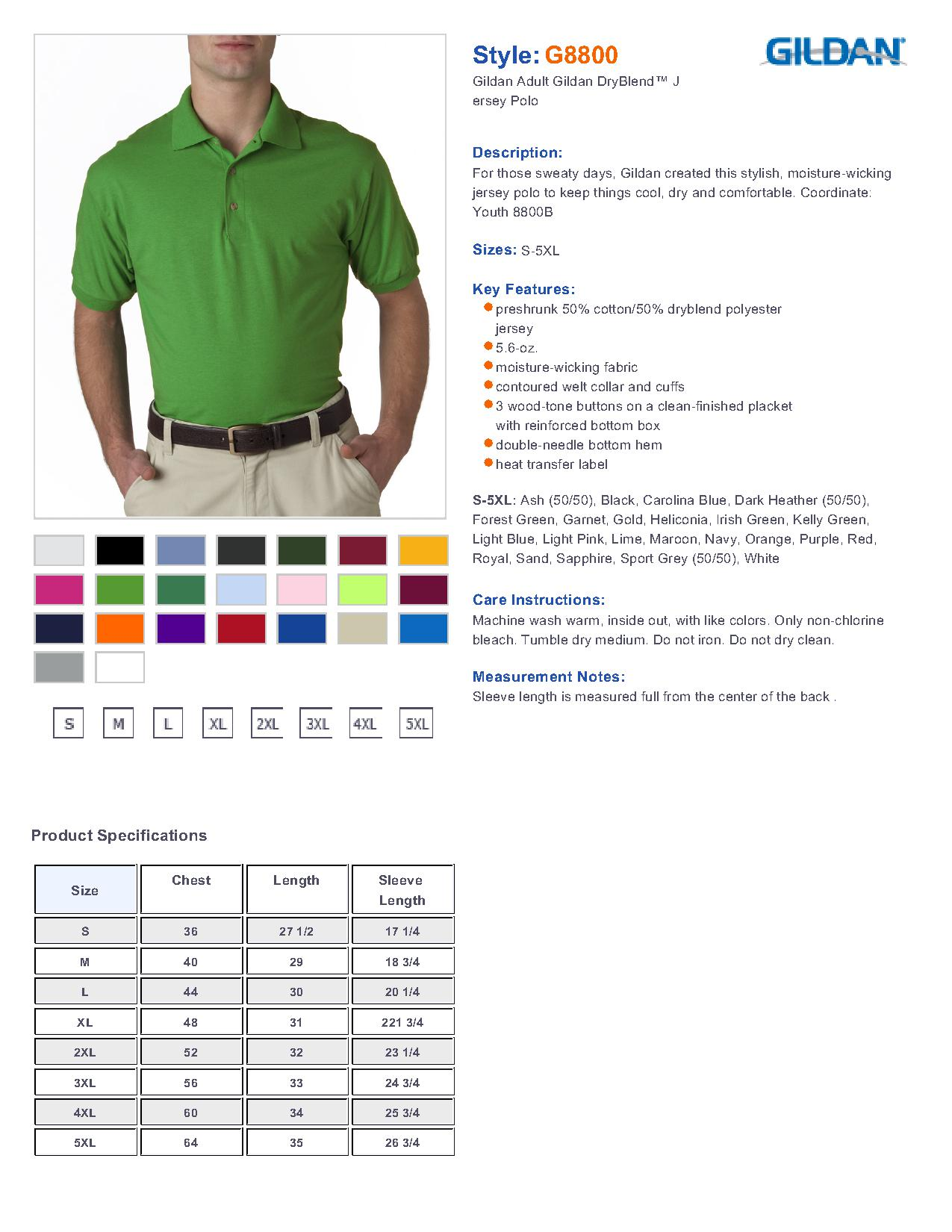 Gildan 8800 5 6 oz ultra blend jersey sport shirt for Gildan brand t shirt size chart