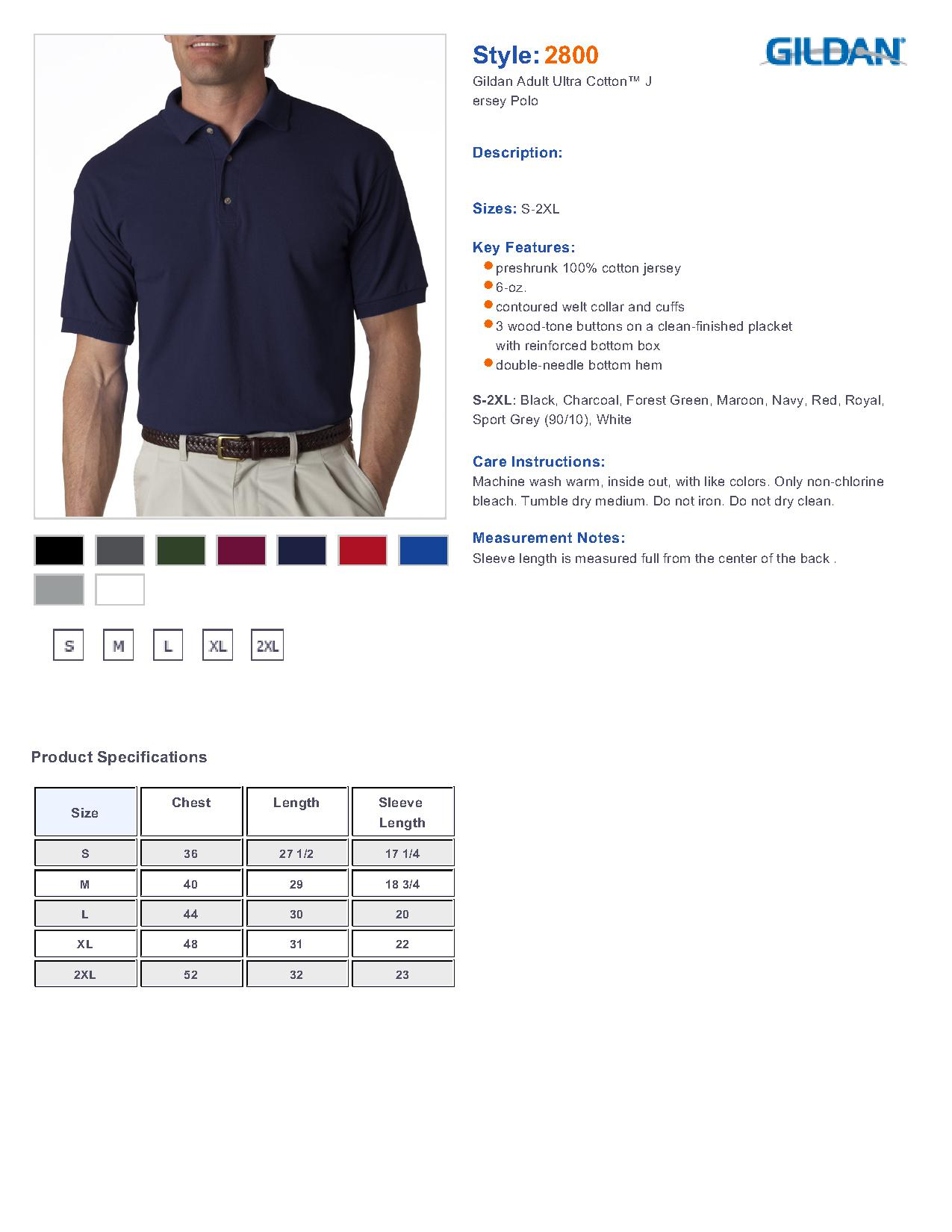 Gildan 2800 Ultra Cotton Jersey Sport Shirt 731 Mens Sport Shirts
