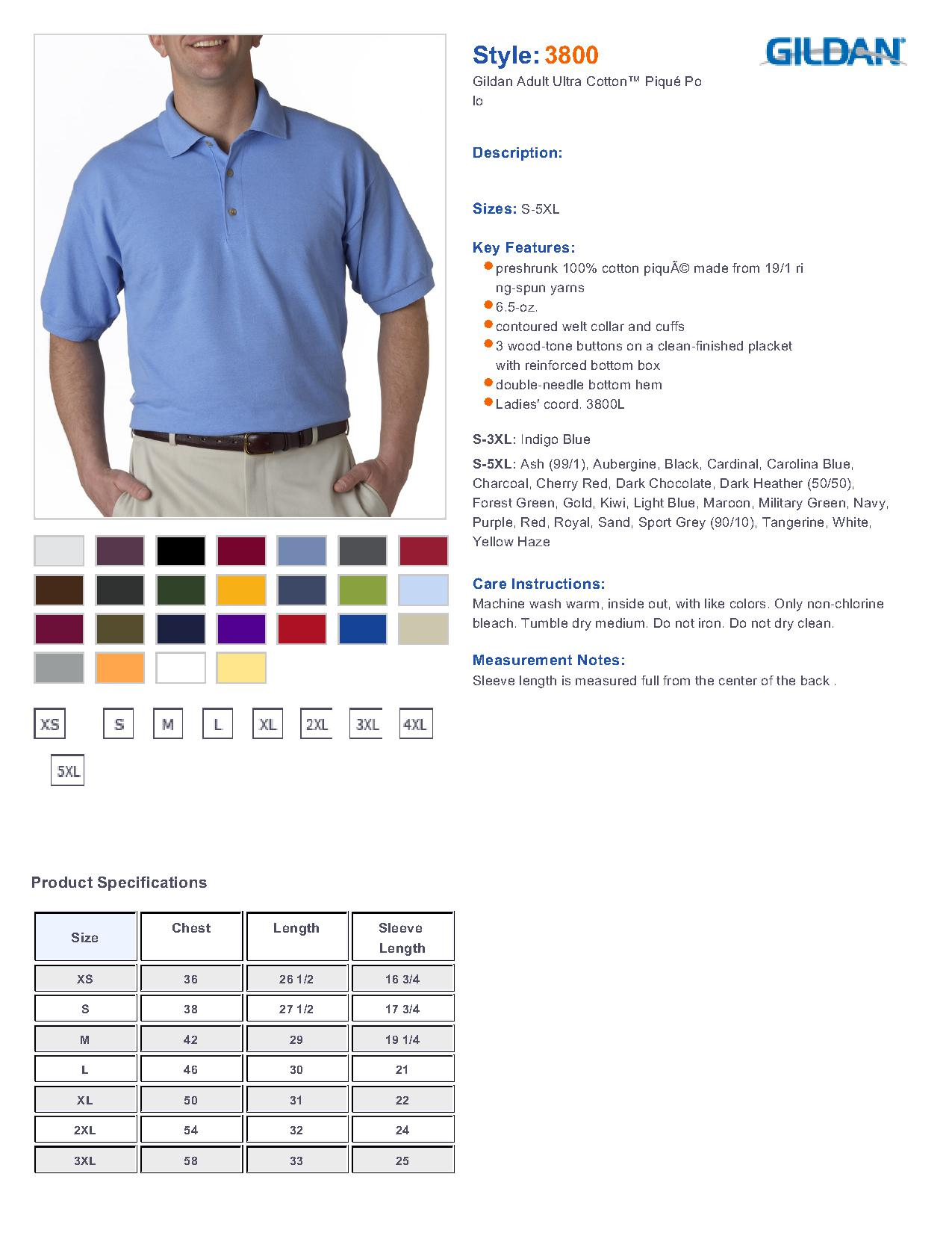 Gildan 3800 Ultra Cotton Ringspun Pique Sport Shirt 727 Mens