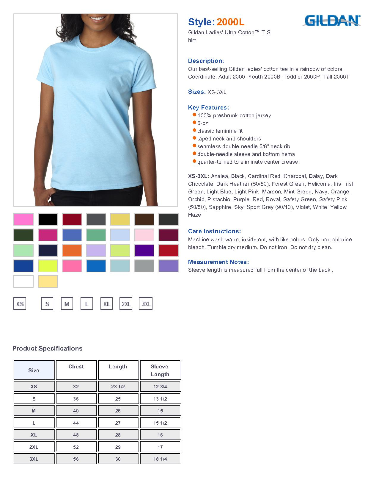 gildan ultra cotton ladies t shirt size chart gildan