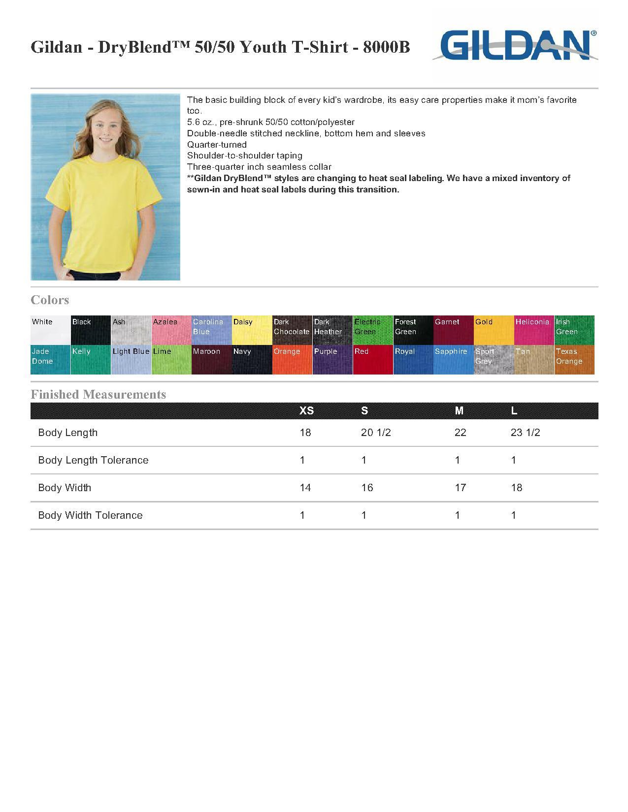 Gildan 8000b youth ultra blend 403 youths t shirts specs sizing specs nvjuhfo Images