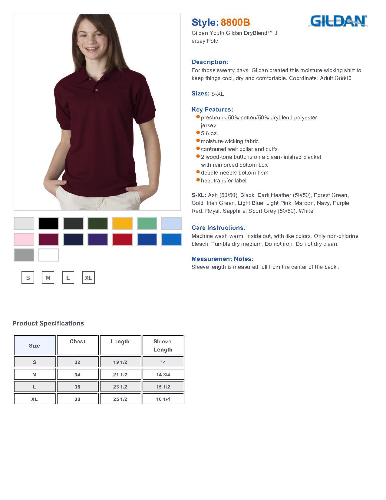 Gildan 8800b youth 56 oz ultra blend 633 youths sport shirts specs sizing specs nvjuhfo Images