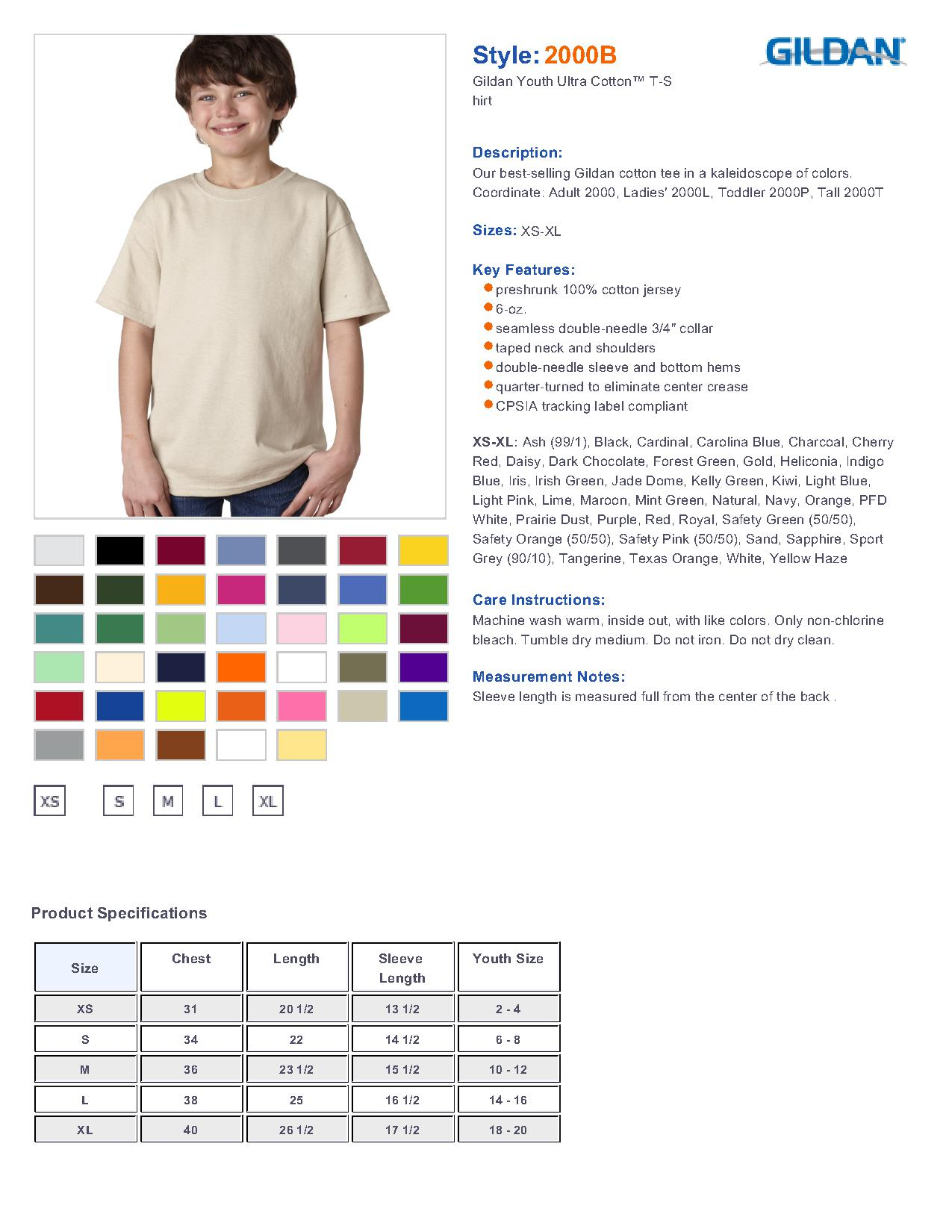 Gildan ultra cotton youth t shirt 2000b 361 youths t shirts specs sizing specs nvjuhfo Image collections