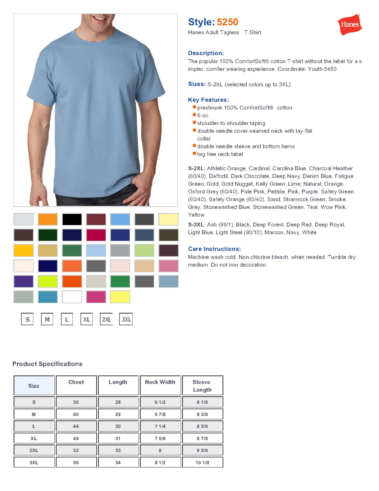 hanes 5250 adult tagless t shirt men 39 s t shirts