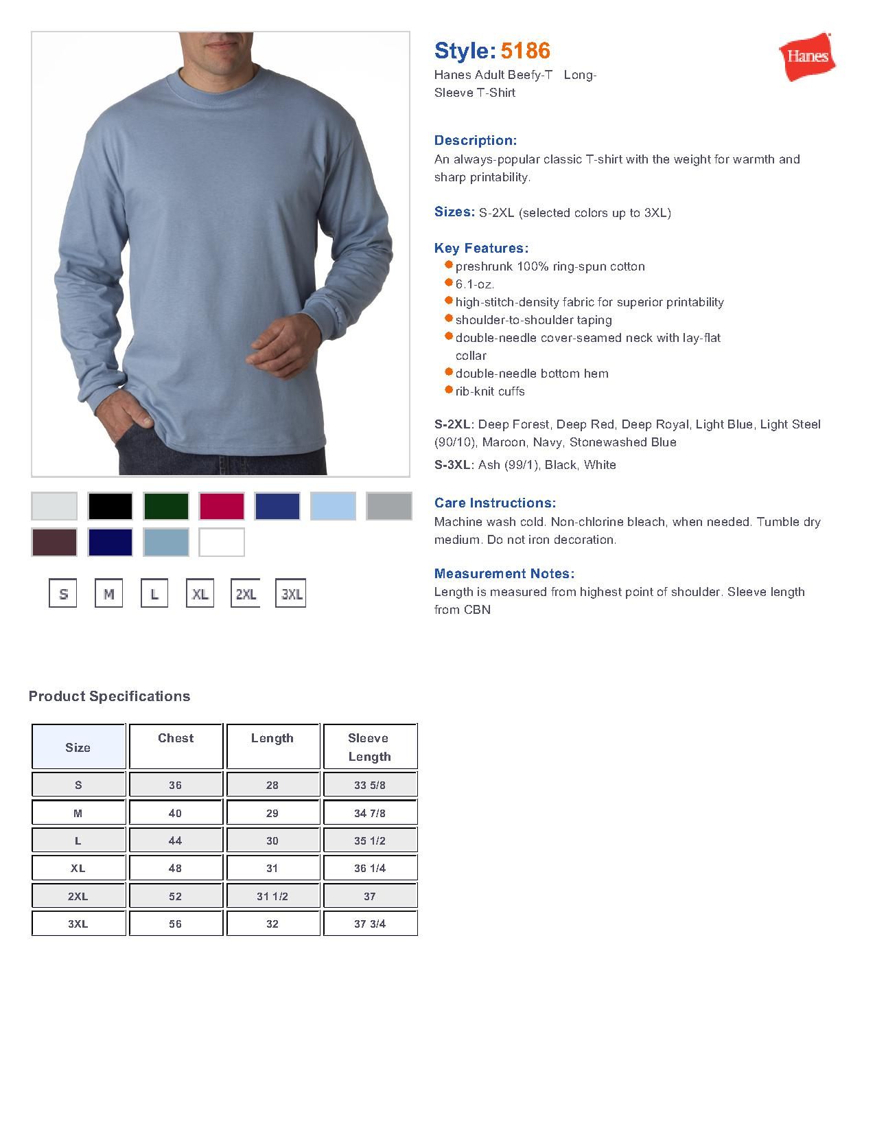 0fa9e0f01685d5 Hanes® 5186 Beefy-T® - 100% Cotton Long Sleeve T-Shirt $10.22 ...