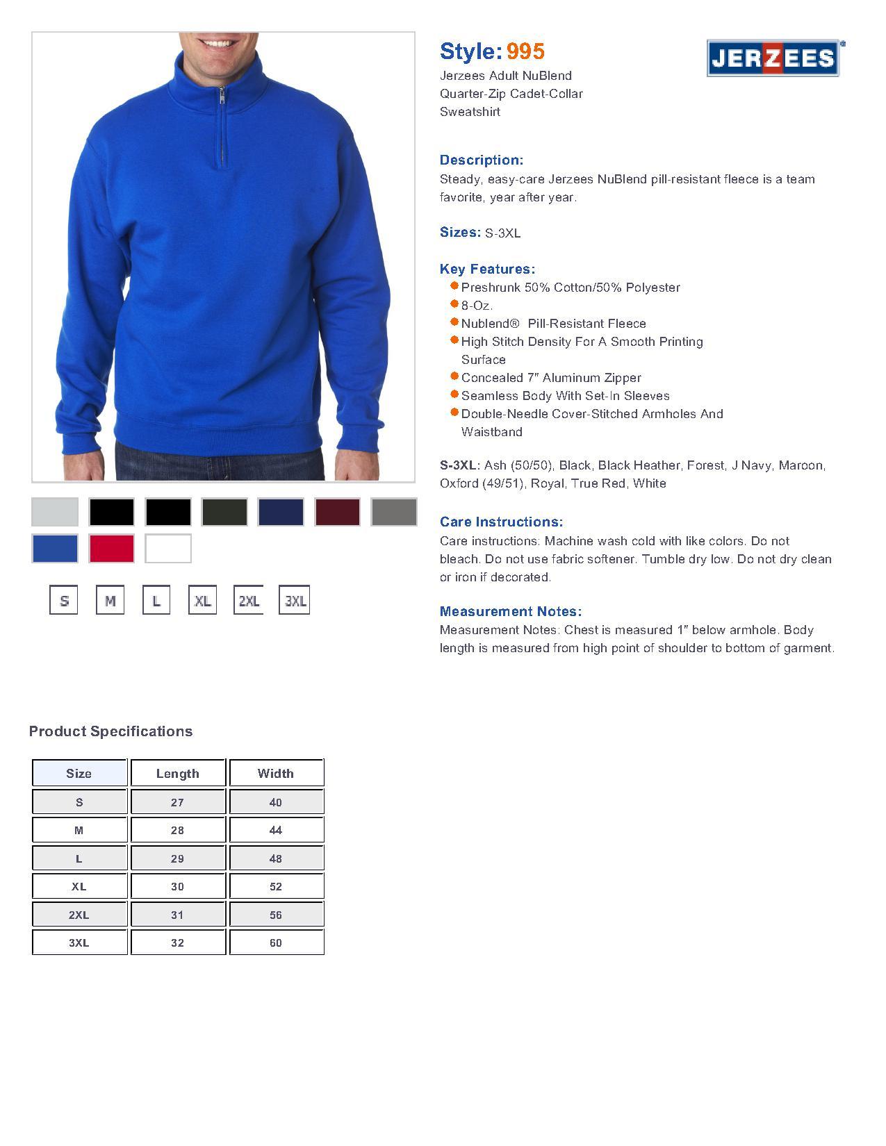 5c97e81c291 Jerzees 995 - Adult NuBlend Quarter-Zip Cadet-Collar Sweatshirt ...