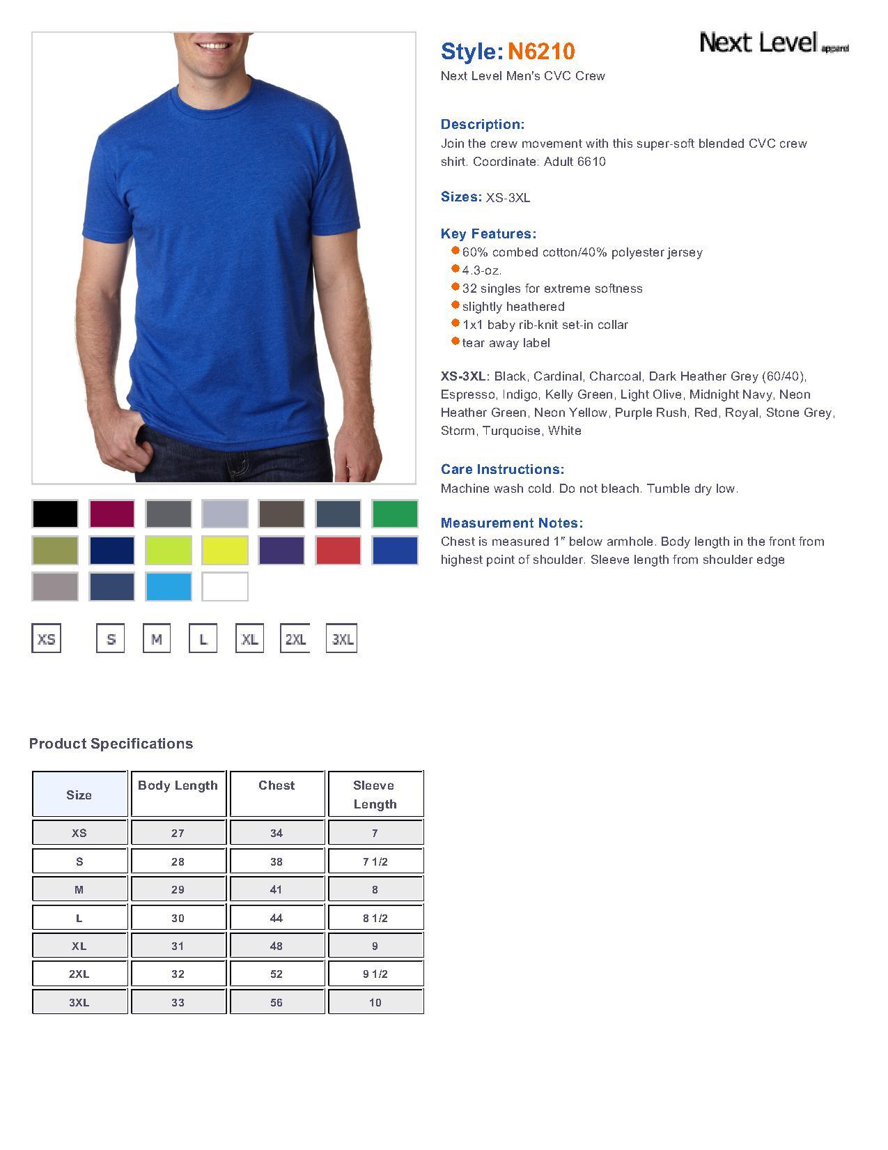 8f86adb501c Next Level N6210 - Men s CVC Crew  4.77 - T Shirts