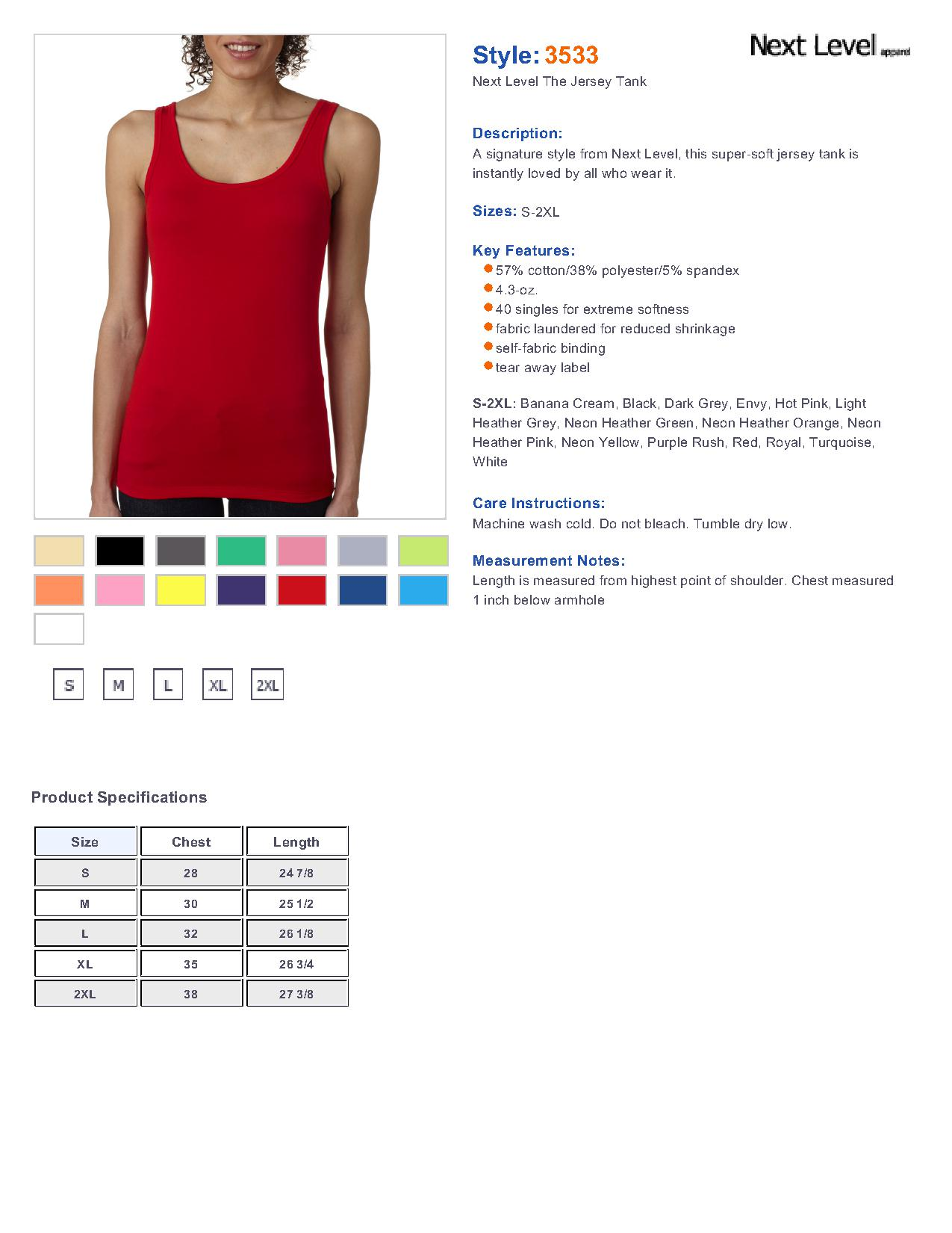 a1d71131c86387 Next Level 3533-The Ladies Blended Jersey Tank  3.30 - Women s Tanks