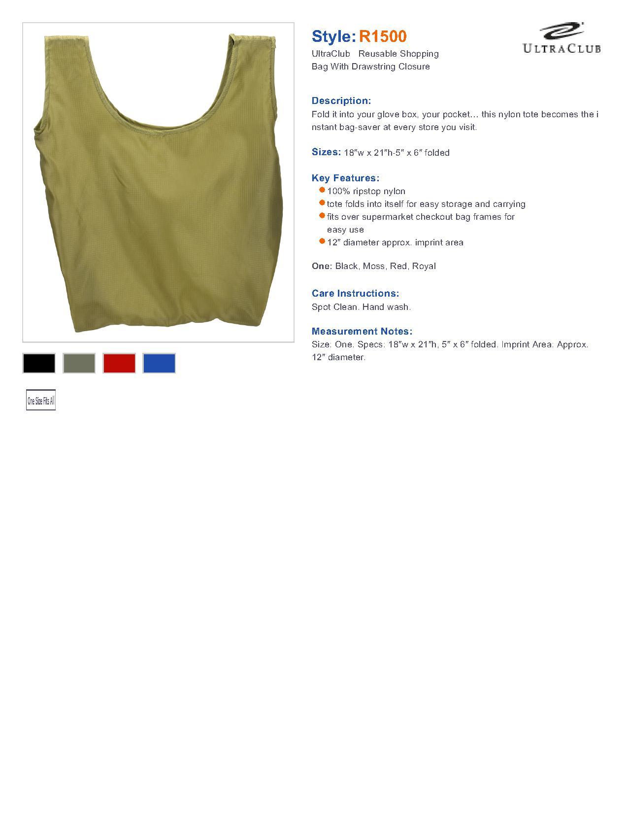 9a843f5fb UltraClub R1500-Reusable Shopping Bag With Drawstring Closure $3.28 ...