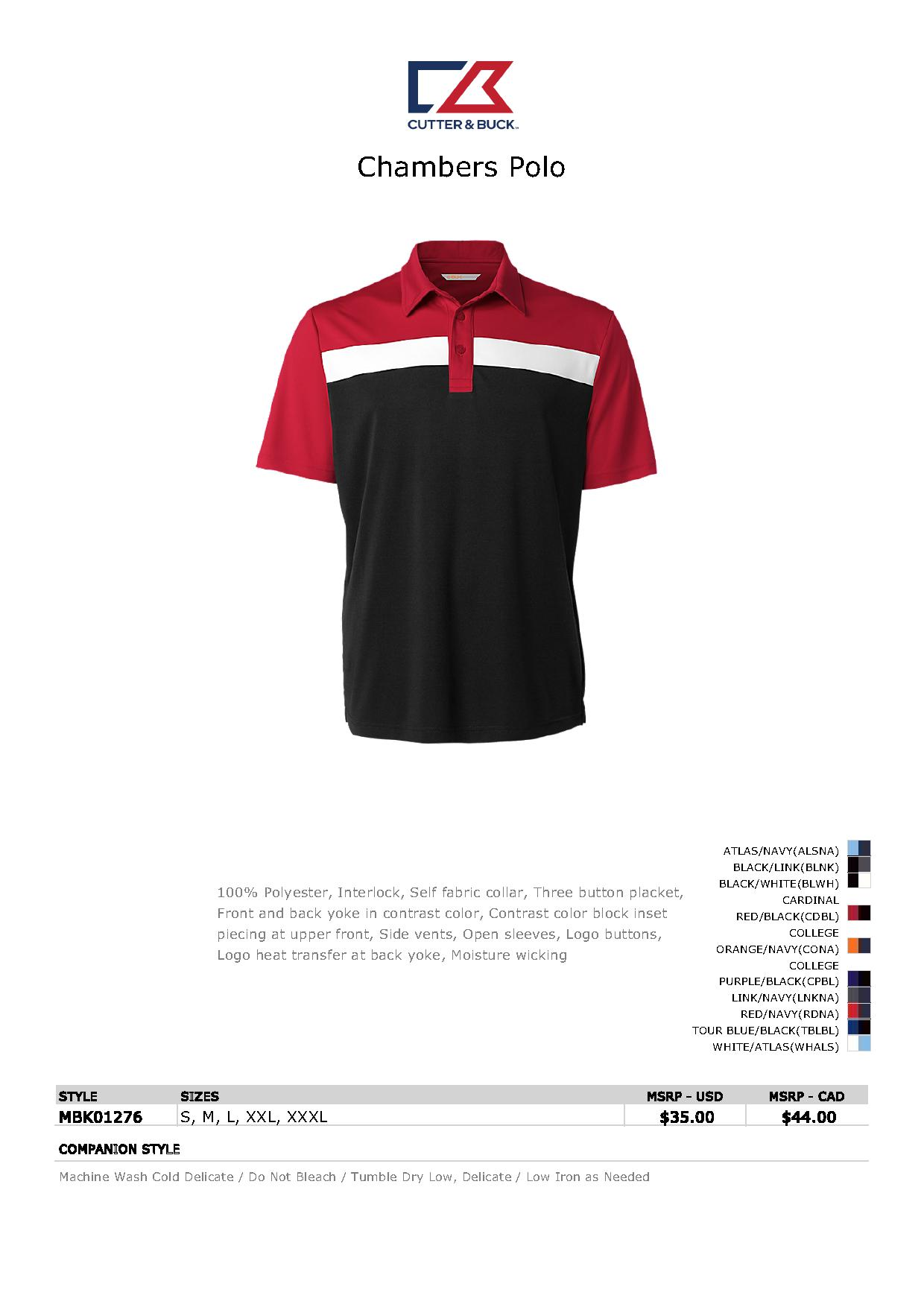 788563119 Popular Designs. custom design of CUTTER & BUCK MBK01276 - Men's Chambers  Polo