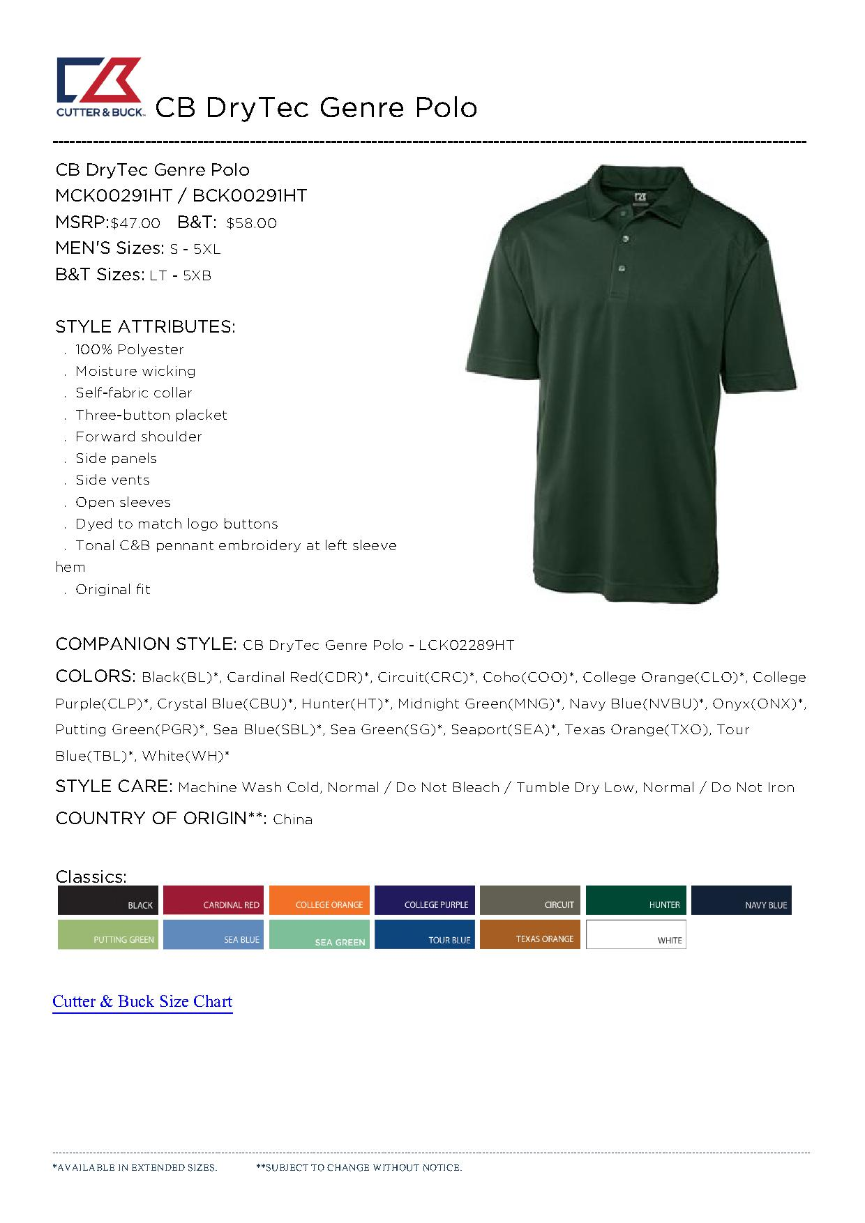 Cutter buck mck00291 men 39 s cb drytec genre polo for Cutter buck polo shirt size chart