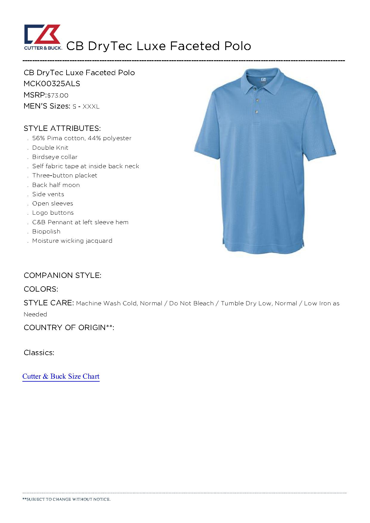 Cutter buck mck00325 men 39 s cb drytec luxe faceted polo for Cutter buck polo shirt size chart