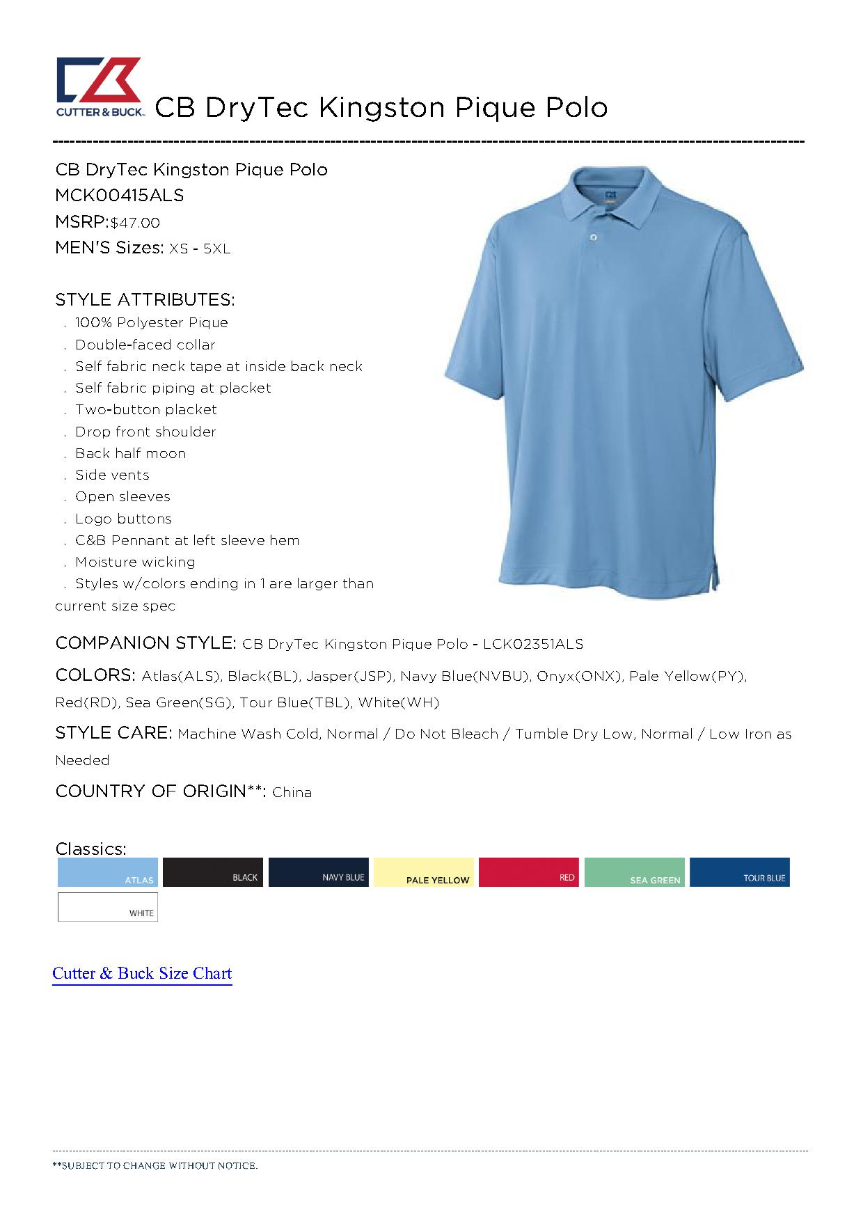 Cutter buck mck00415 men 39 s cb drytec kingston pique for Cutter buck polo shirt size chart