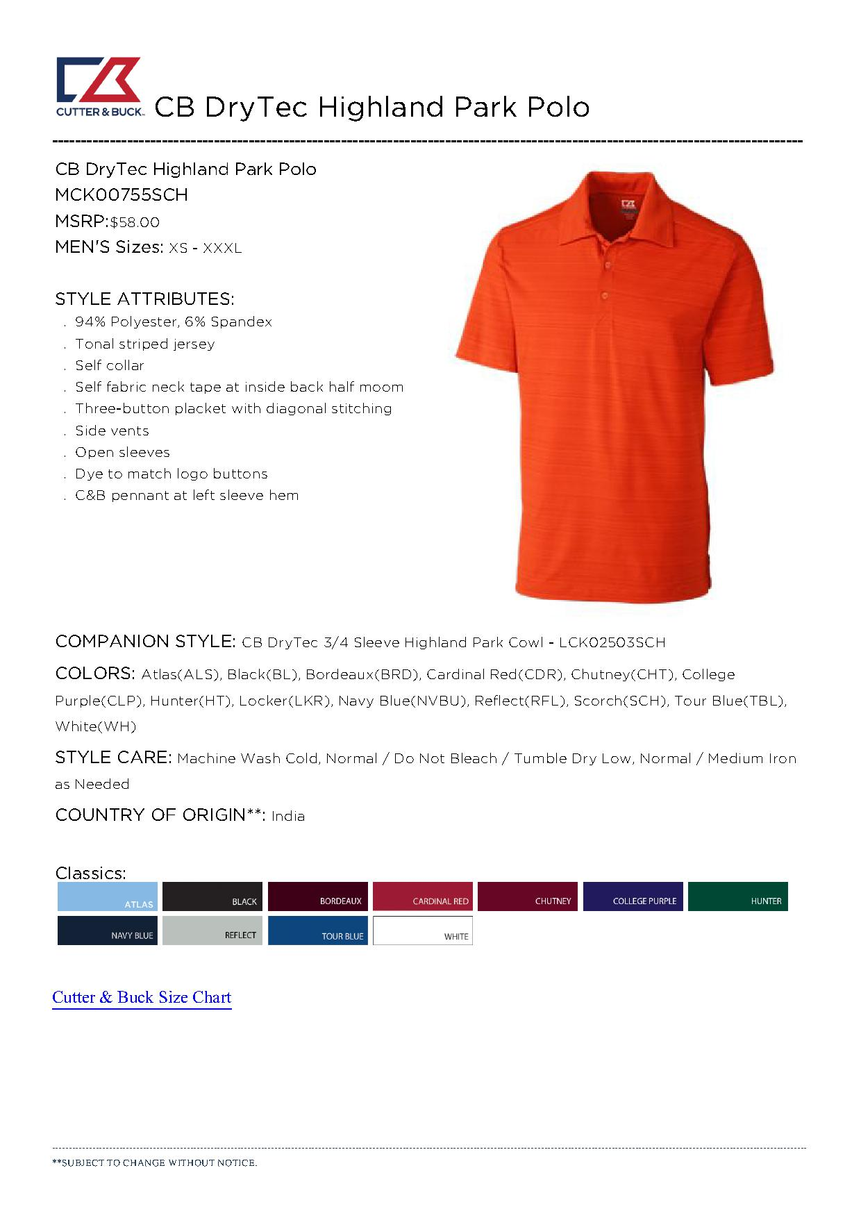 Cutter buck mck00755 men 39 s cb drytec highland park for Cutter buck polo shirt size chart