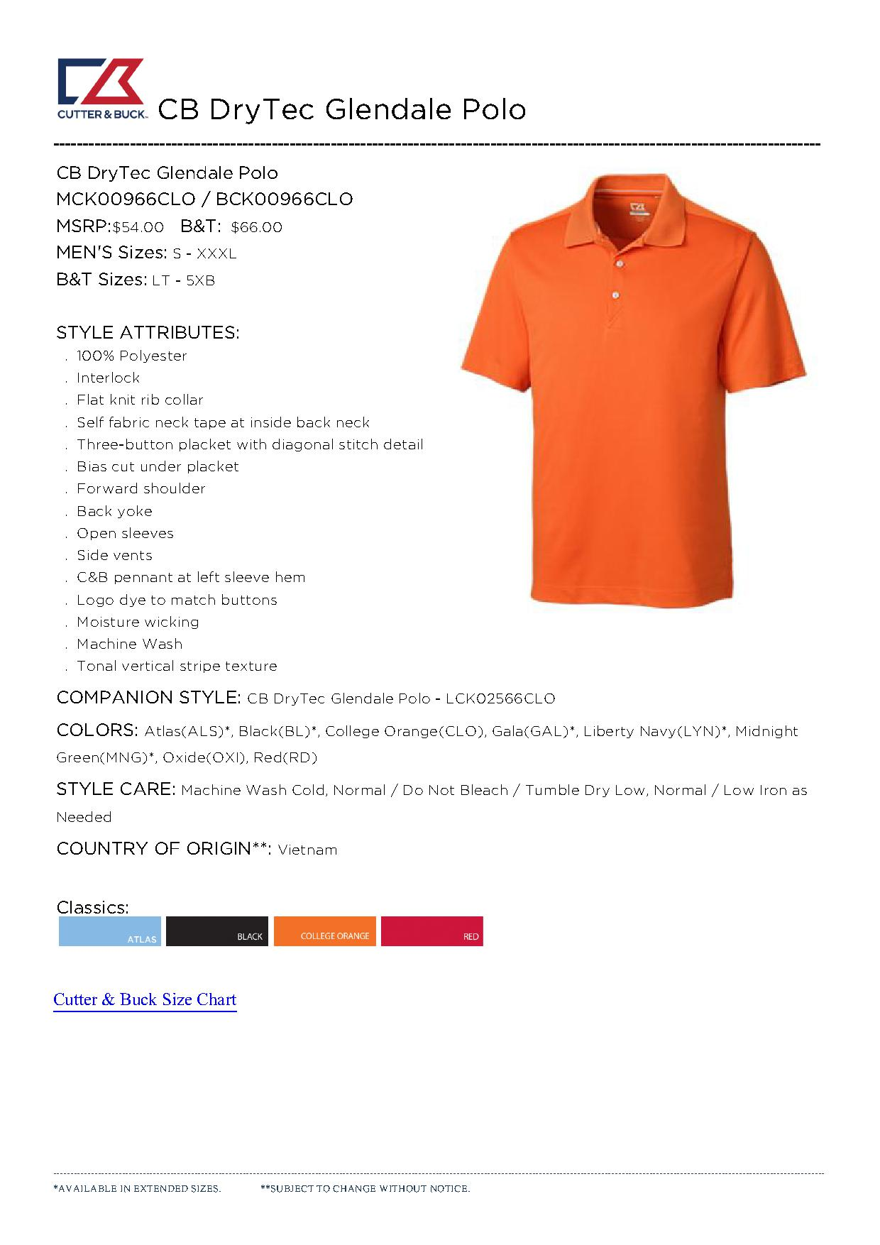 Cutter buck mck00966 men 39 s cb drytec glendale polo 27 for Cutter buck polo shirt size chart
