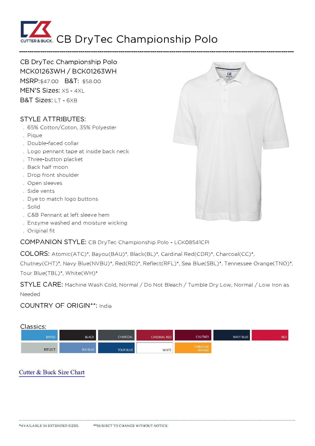 Cutter buck mck01263 men 39 s cb drytec championship polo for Cutter buck polo shirt size chart