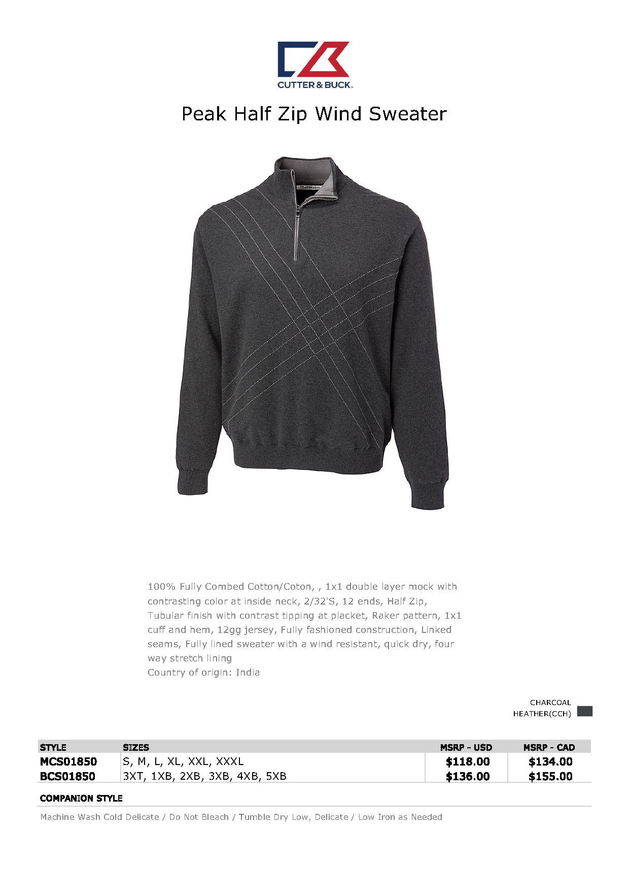 Cutter Buck Mcs01850 Mens Peak Half Zip Wind Sweater 6531