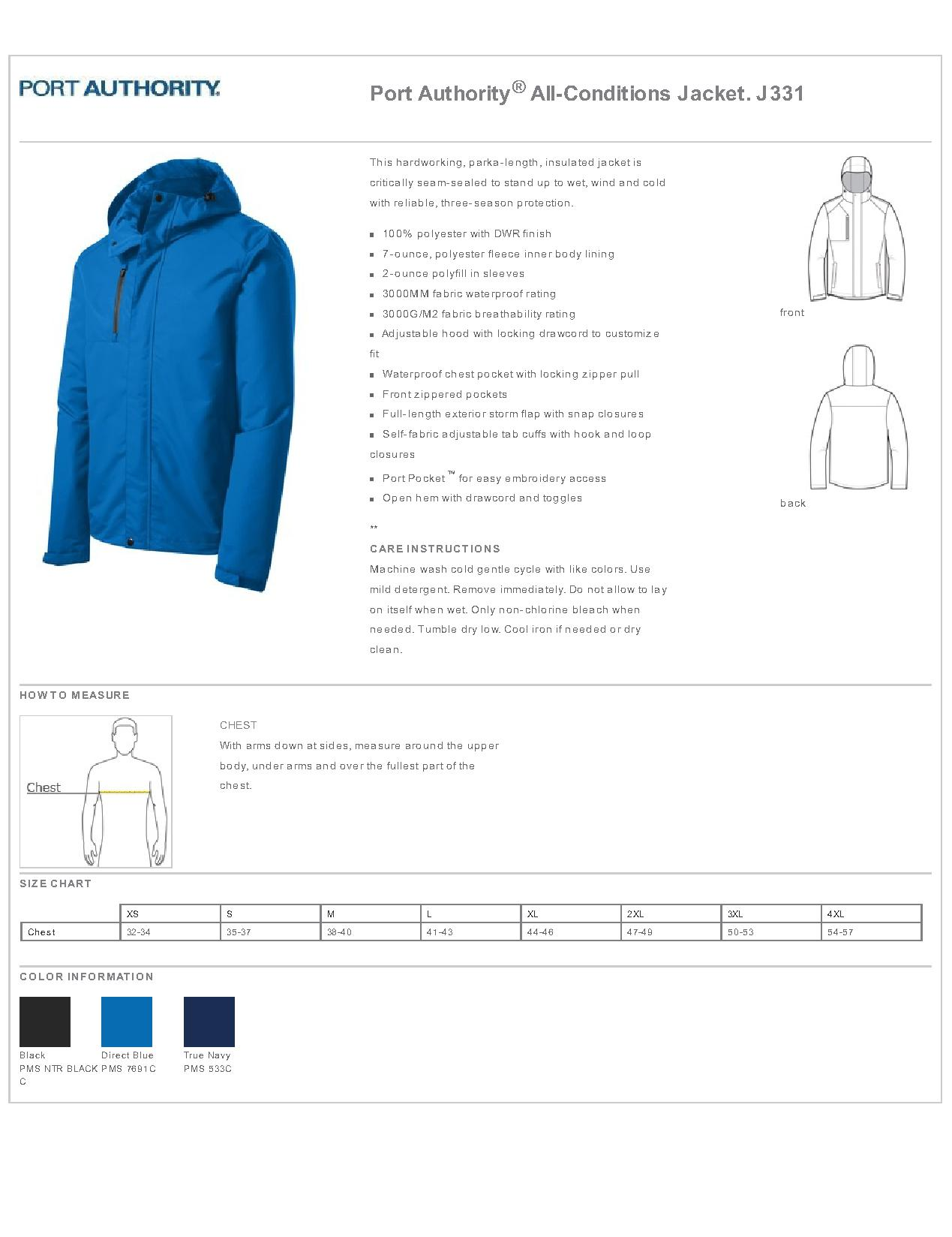 6417a7d0719 Port Authority J331 - All-Conditions Jacket - Outerwear