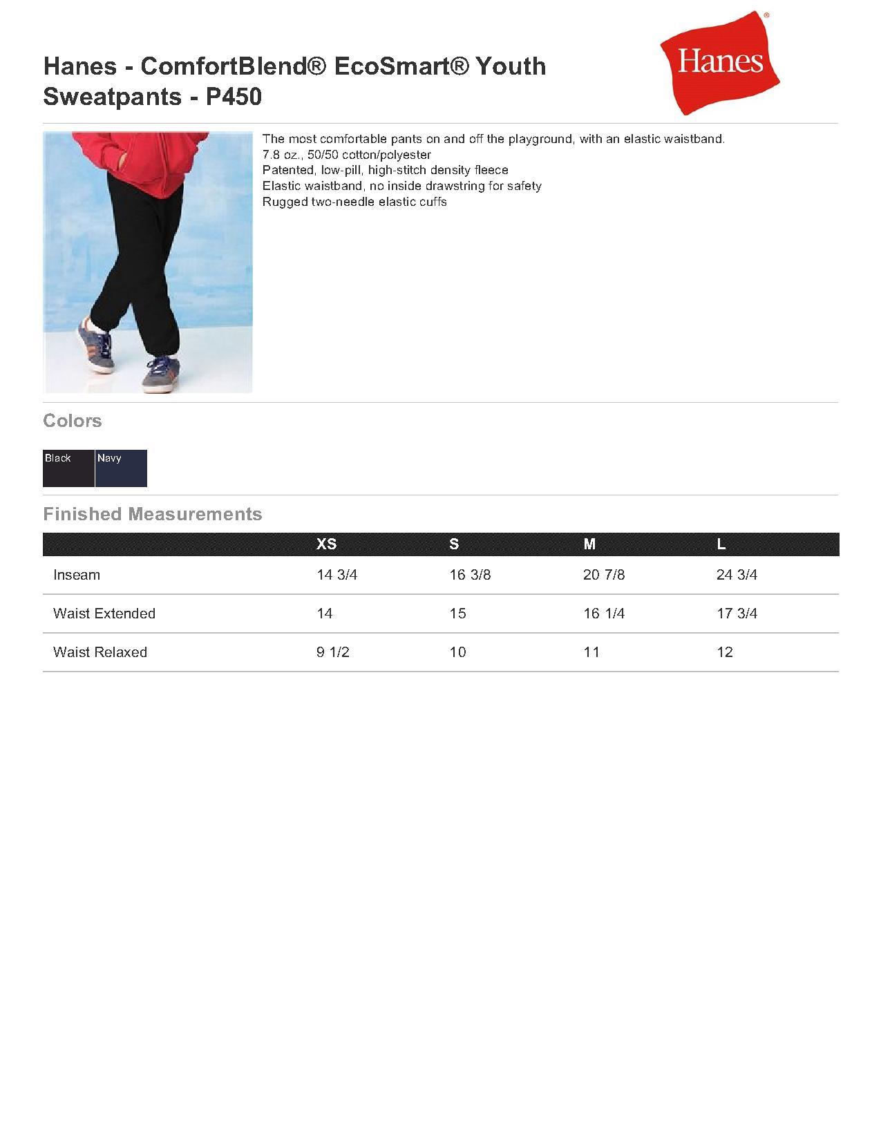 e1755f48d3a2 Hanes P450 - ComfortBlend EcoSmart Youth Sweatpants $7.86 - Men's Pants