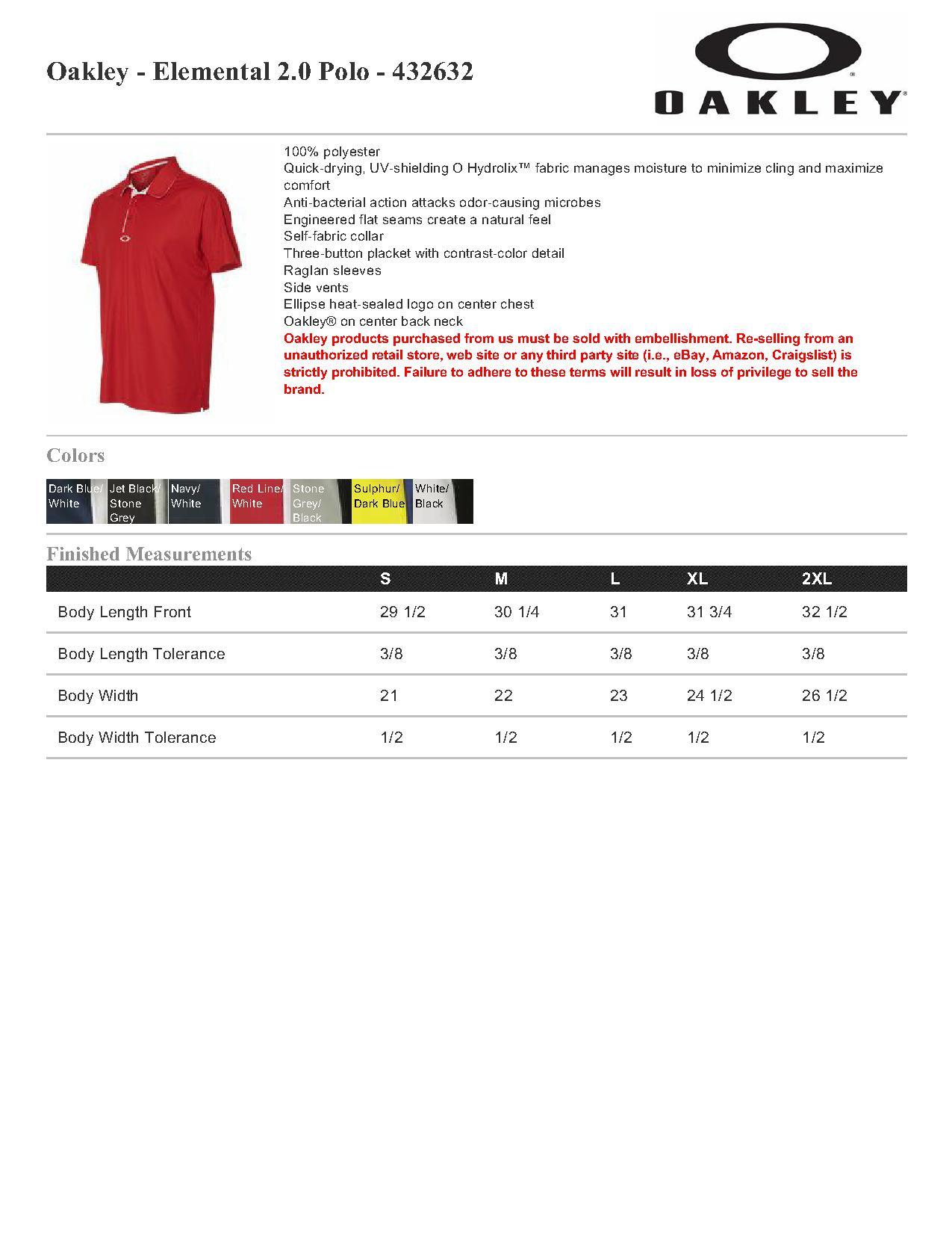 53222eaad8 Oakley 432632 Elemental 2.0 Polo  31.25 - Men s Sport Shirts