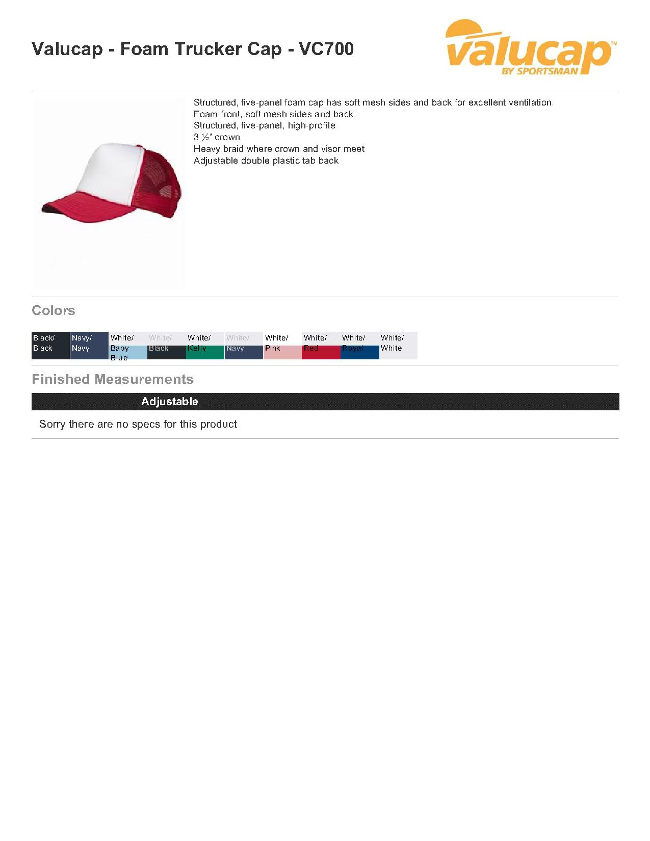 d005f0d515b7a Valucap VC700 - Foam Trucker Cap  2.59 - Headwear